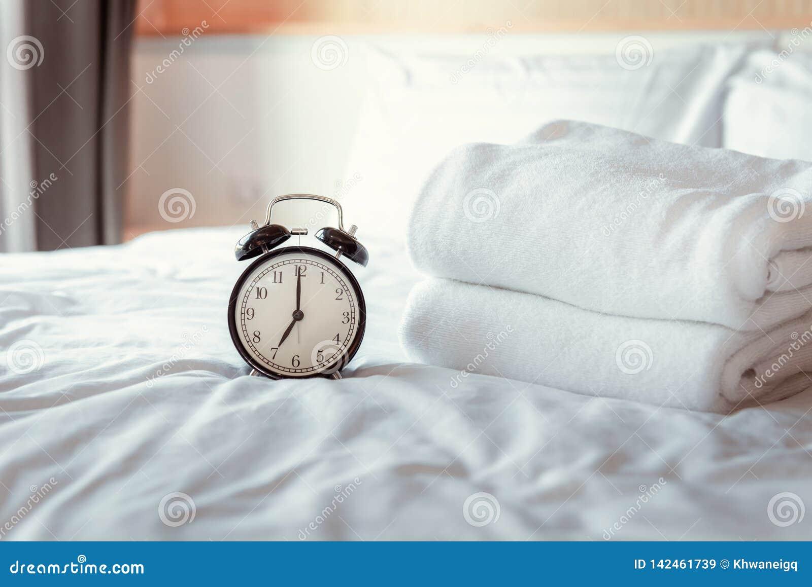 Analog Alarm Clock On Bedroom In Modern House Retro Timer