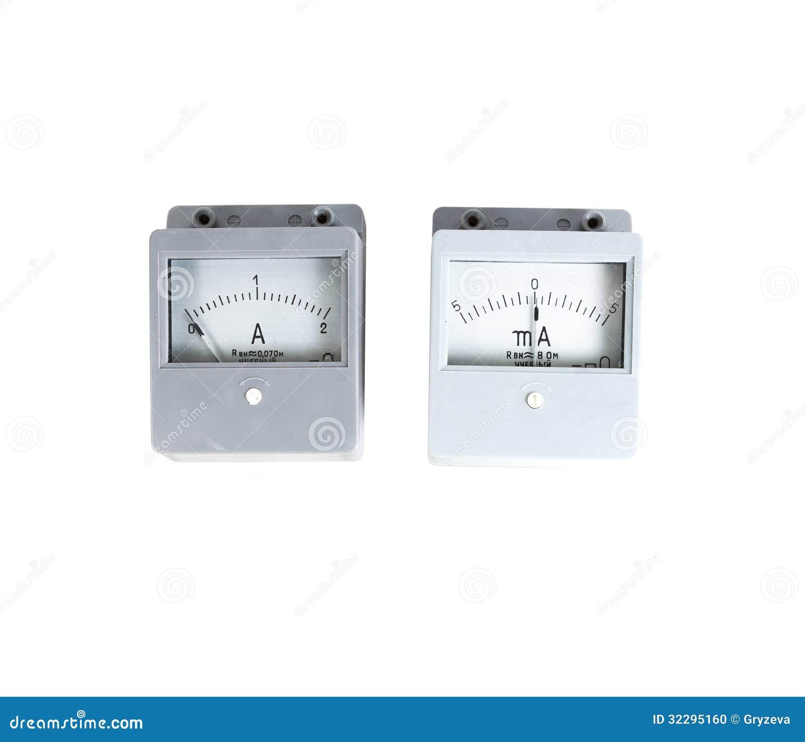 Analog Meter Background : Analog ammeter isolated on white background stock photo