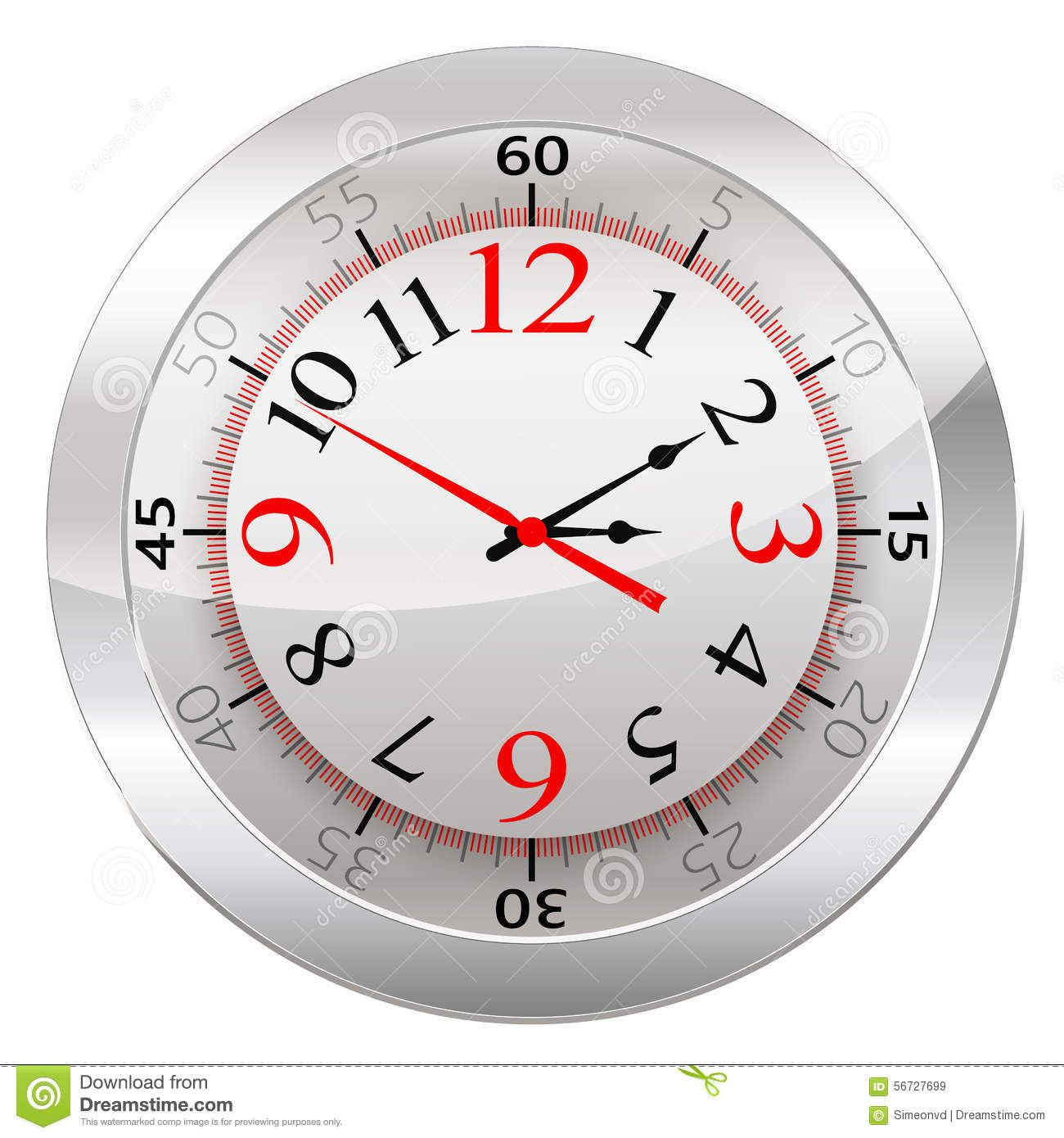 Analog Clock Isolated On A White Background Vector ...