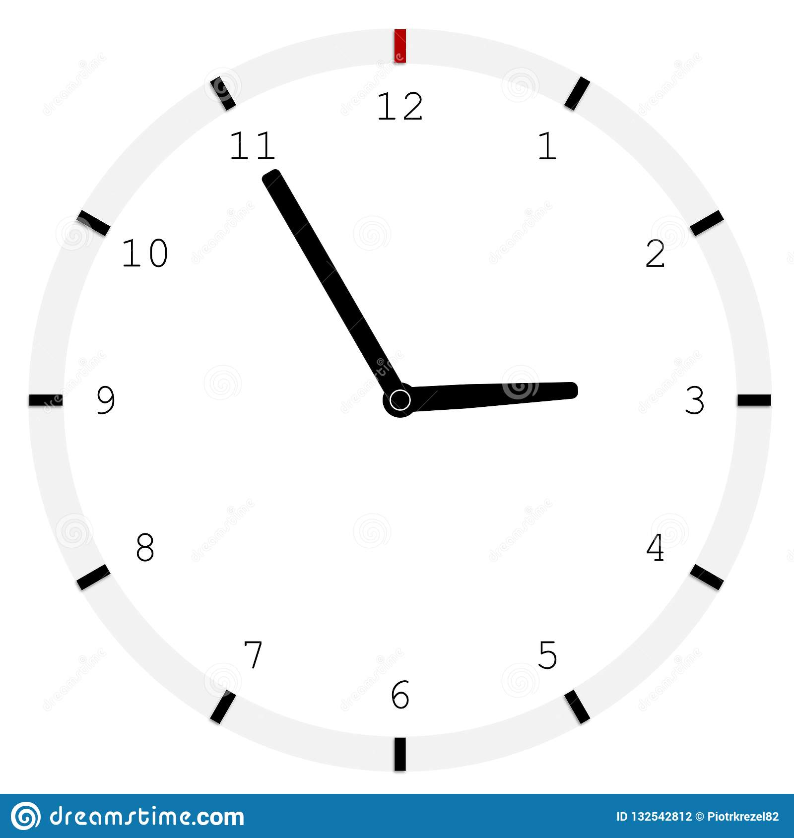 Analog Clock On White Background  Stock Vector - Illustration of