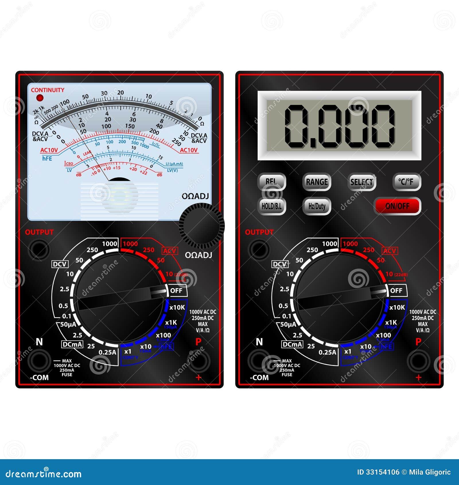 Digital Analog Multimeter : Analog and digital multimeter stock photo image of