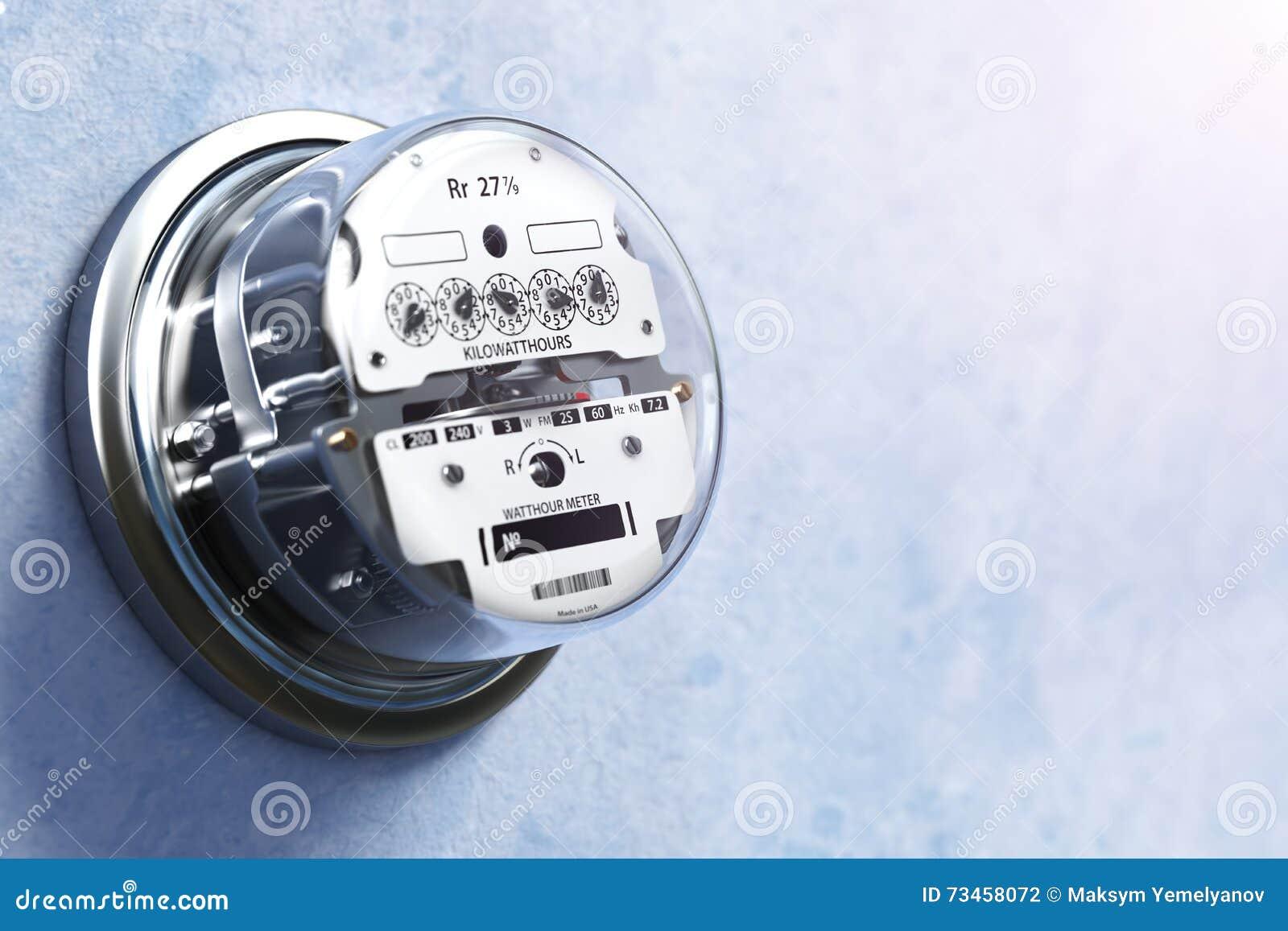 Analog Electric Meter : Analog electric meter on the wall stock illustration