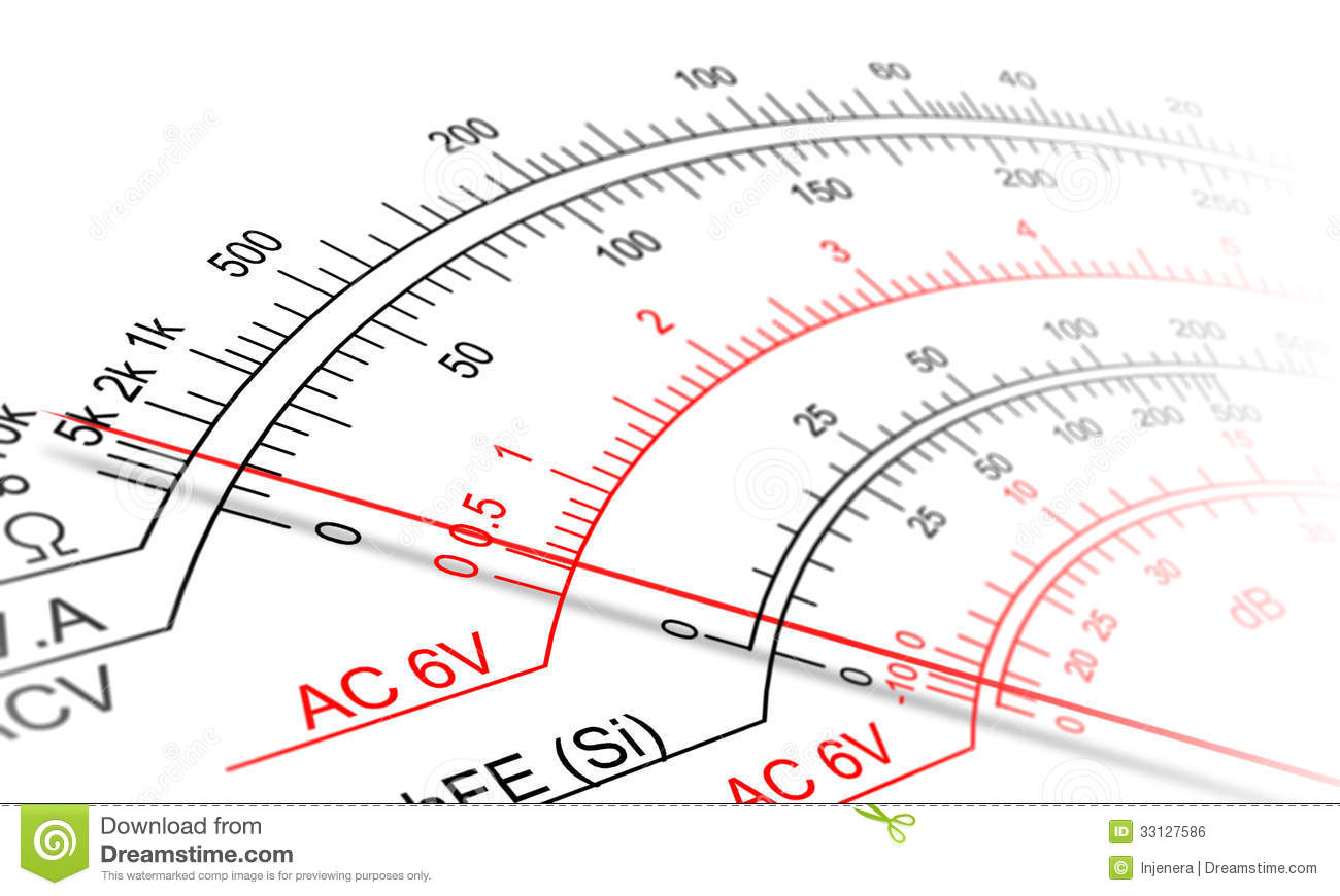 Reading An Ohmmeter : Analog multimeter scale royalty free stock image