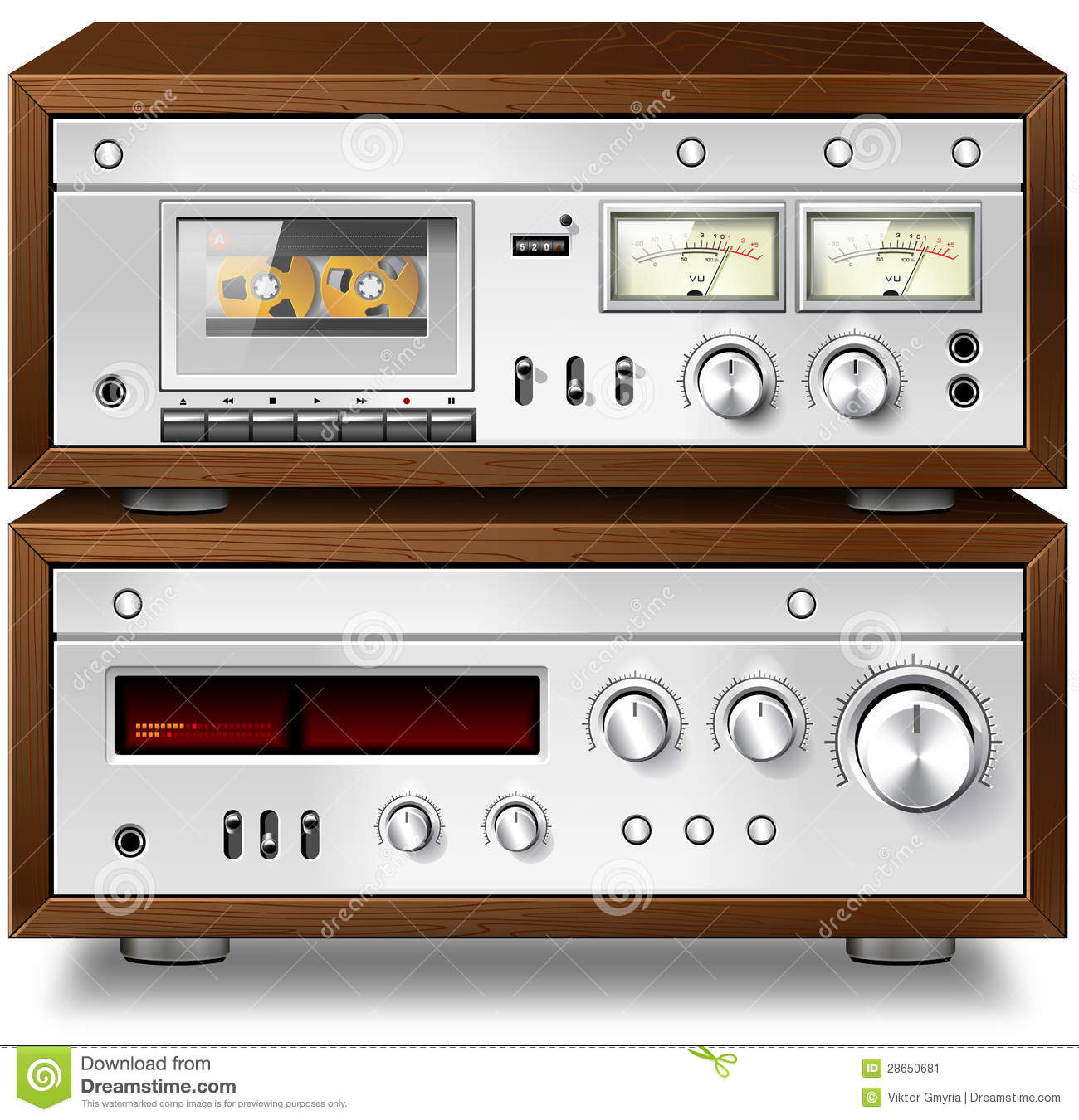 Analog Music Stereo Audio Compact Cassette Deck With Amplifier V Stock Illustration