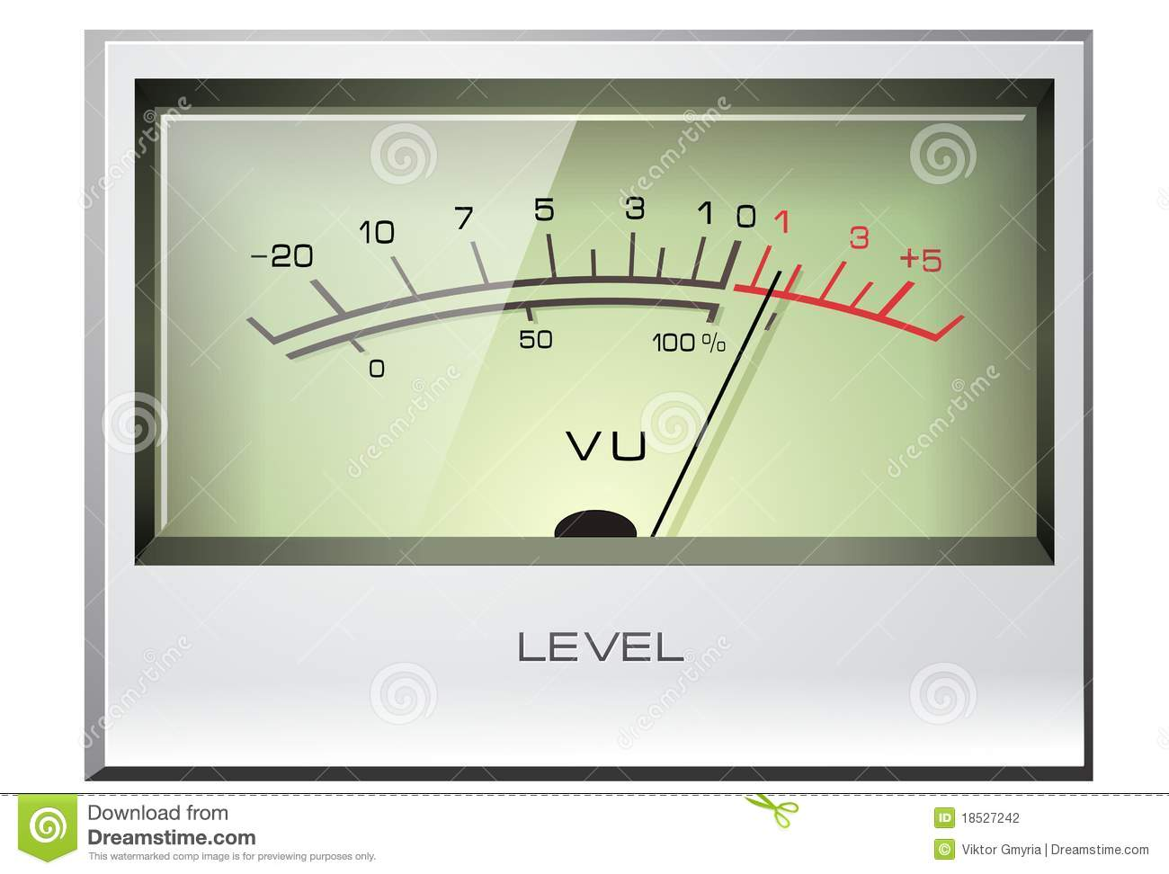 Analog Vu Meter : Analog signal vu meter with green display images frompo