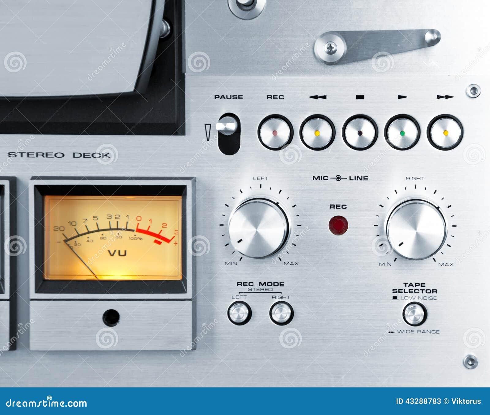 Analog Vu Meter : Analog stereo open reel tape deck recorder vu meter stock