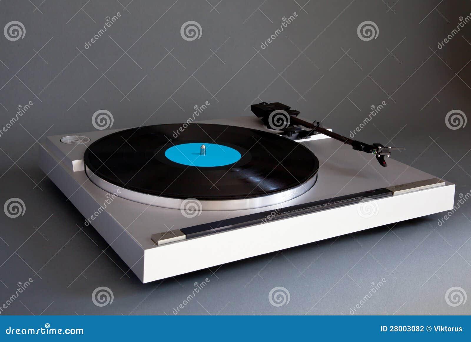 Analog Stereo Turntable Vinyl Record Player Stock Photo