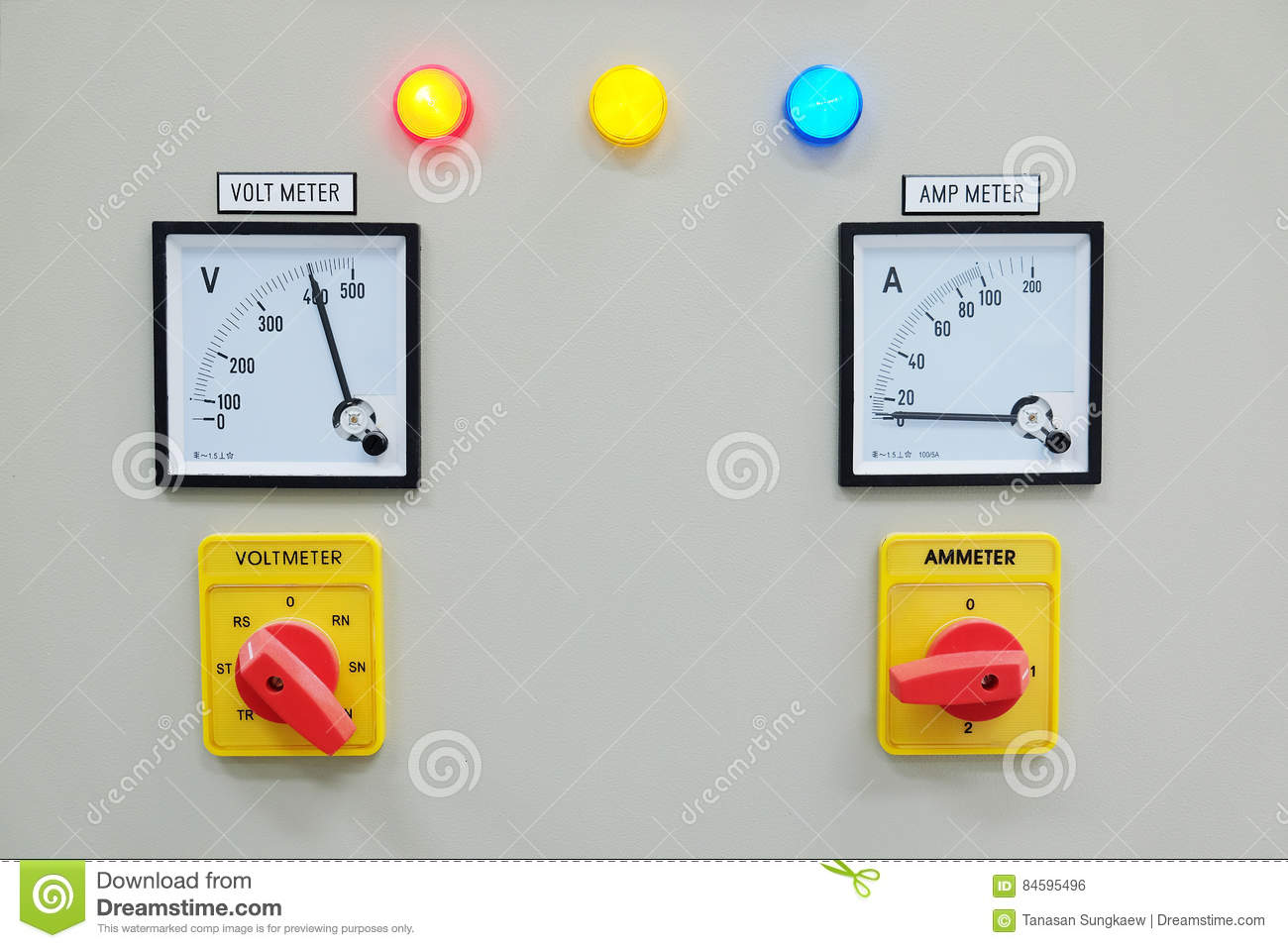 Hooking Up Voltmeter And Devices : Analog voltmeter amp meter and signal lamp on control
