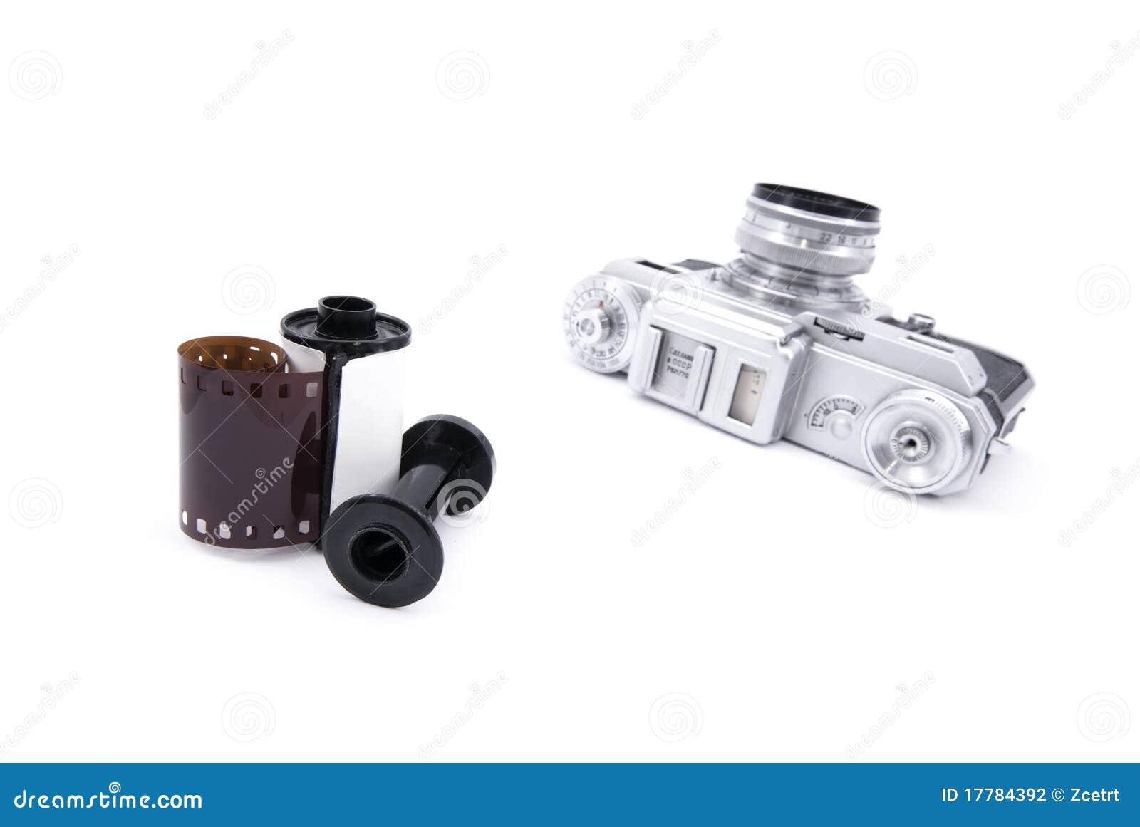 Analoge entfernungsmesserkamera mit dem mm film stockfoto bild