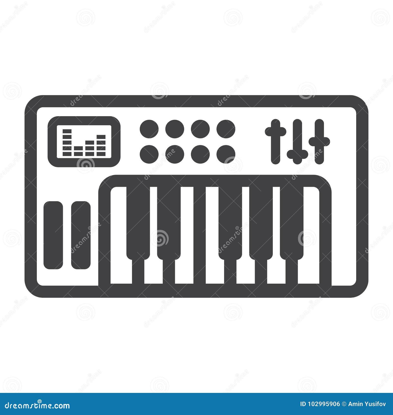 Analoge synthesizerlinie Ikone, Musik und Instrument