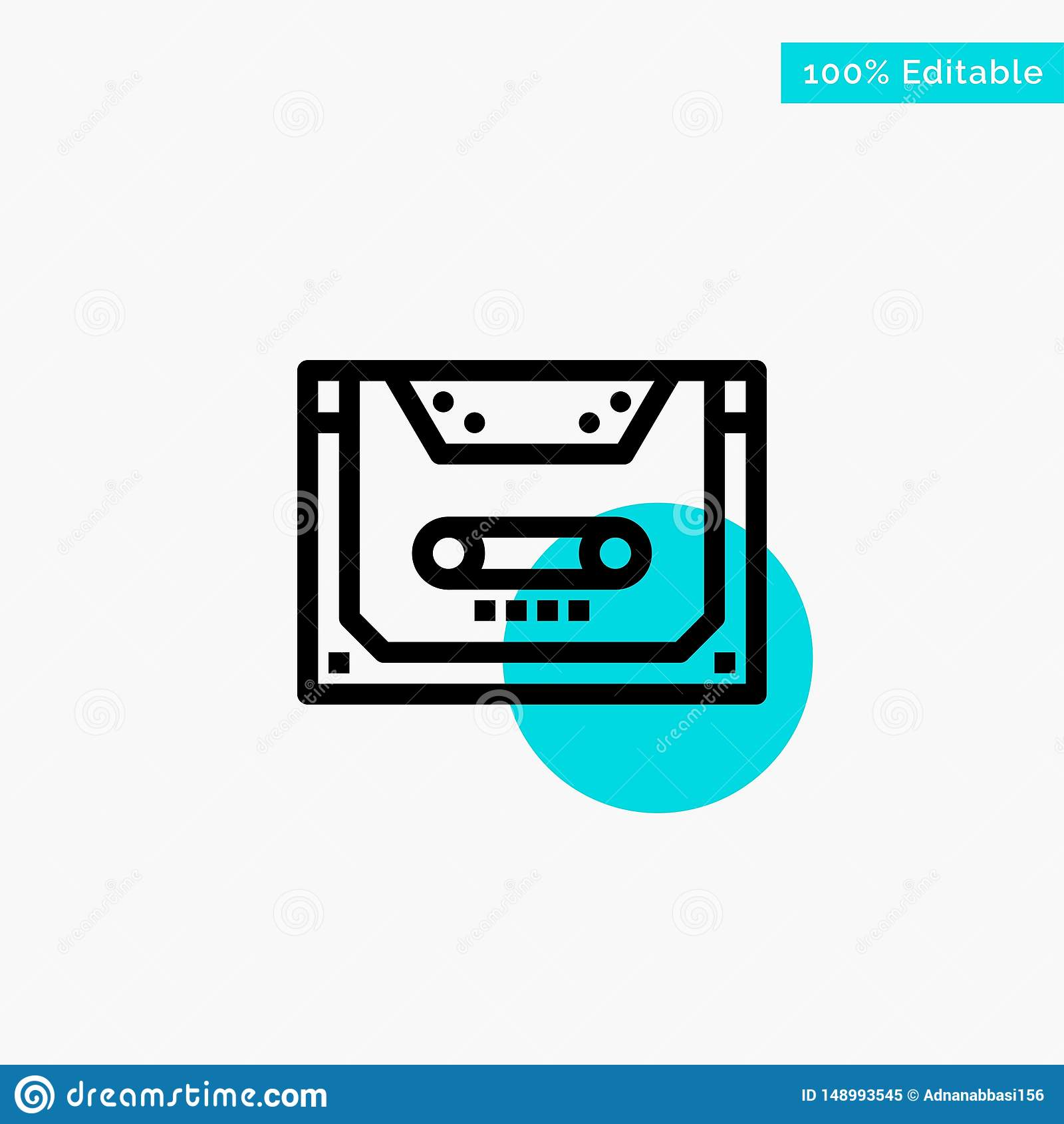 Analogo, audio, cassetta, compatto, icona di vettore del punto del cerchio di punto culminante del turchese della piattaforma