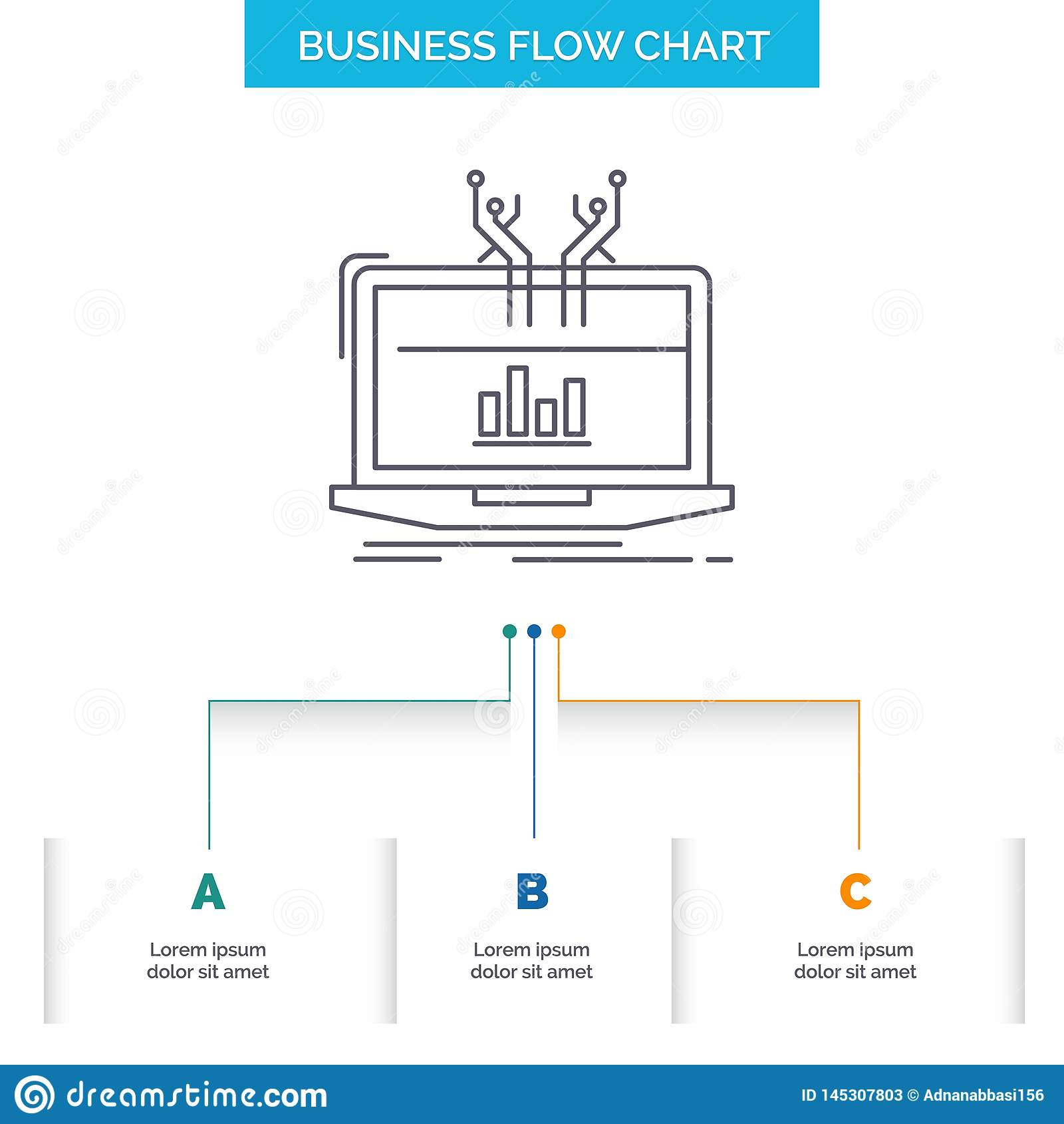 Analyse, analytisch, Management, on-line, Plattform Geschäfts-Flussdiagramm-Entwurf mit 3 Schritten Linie Ikone f?r Darstellungs-