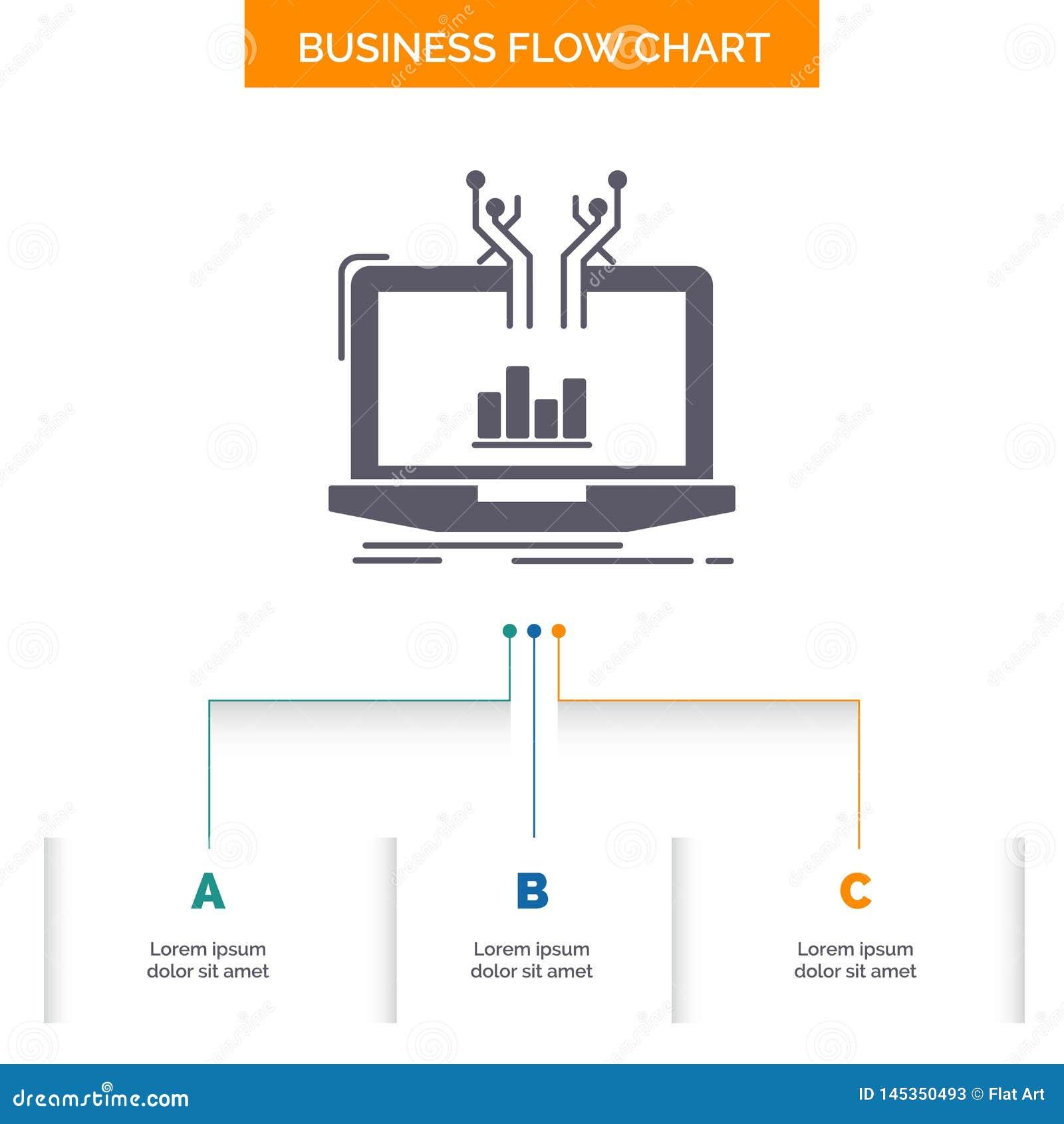 Analyse, analytisch, Management, on-line, Plattform Gesch?fts-Flussdiagramm-Entwurf mit 3 Schritten Glyph-Ikone f?r Darstellungs-