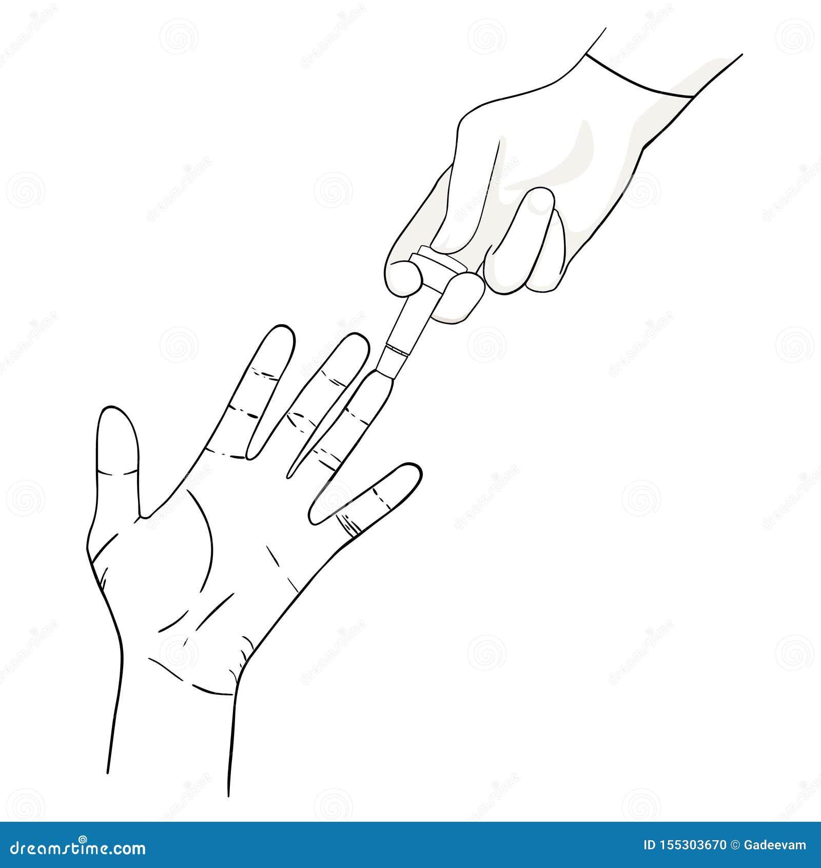 Analyse de sang de doigt avec le bistouri