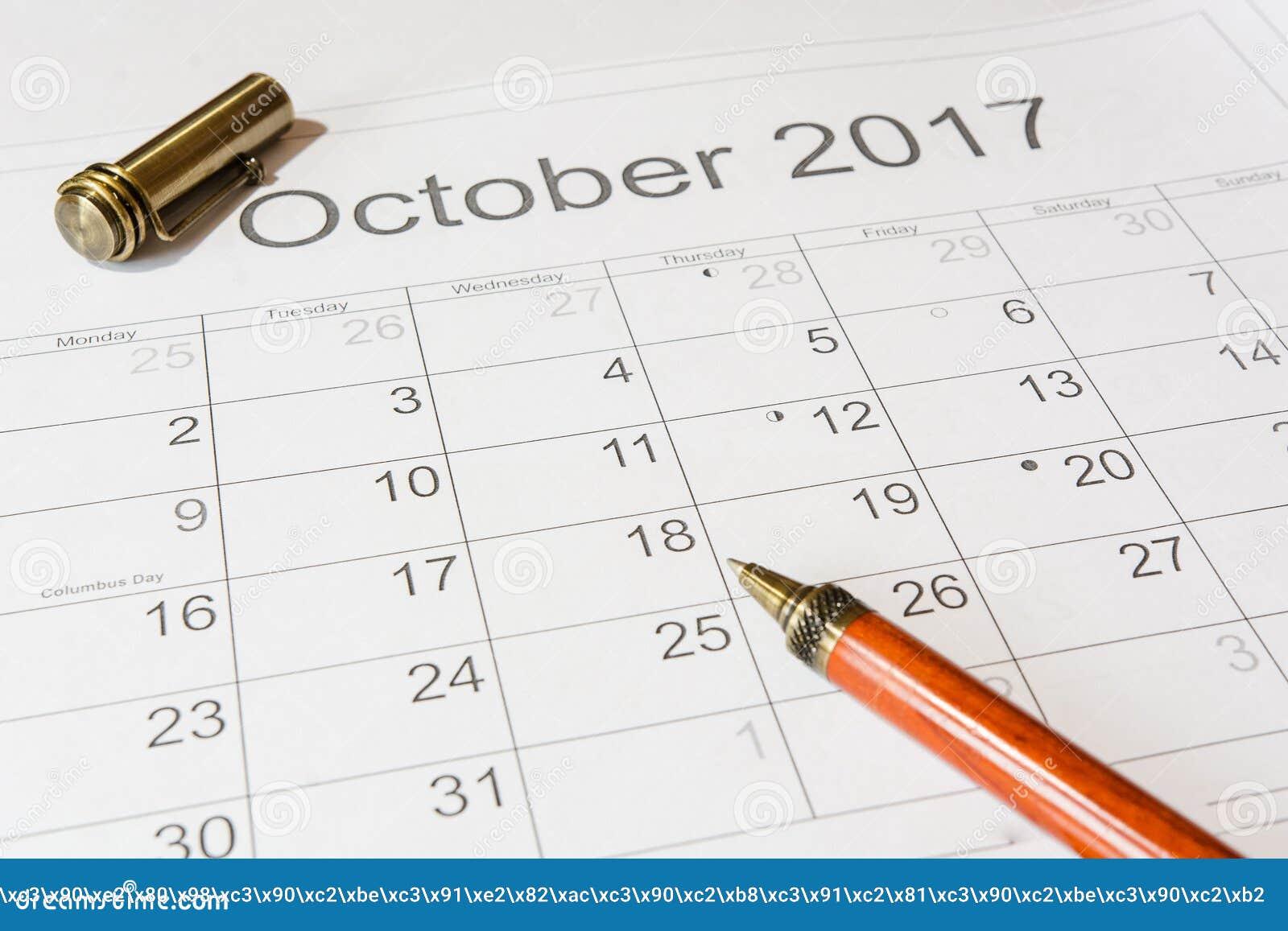 Analyse eines Kalenders Oktober