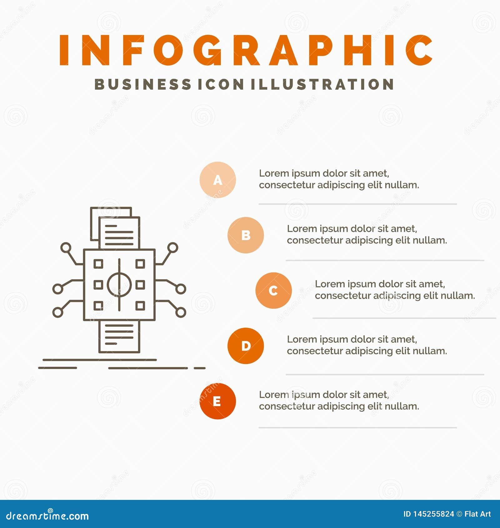 Analyse, gegevens, gegeven, verwerking, meldend Infographics-Malplaatje voor Website en Presentatie Lijn Grijs pictogram met Sina