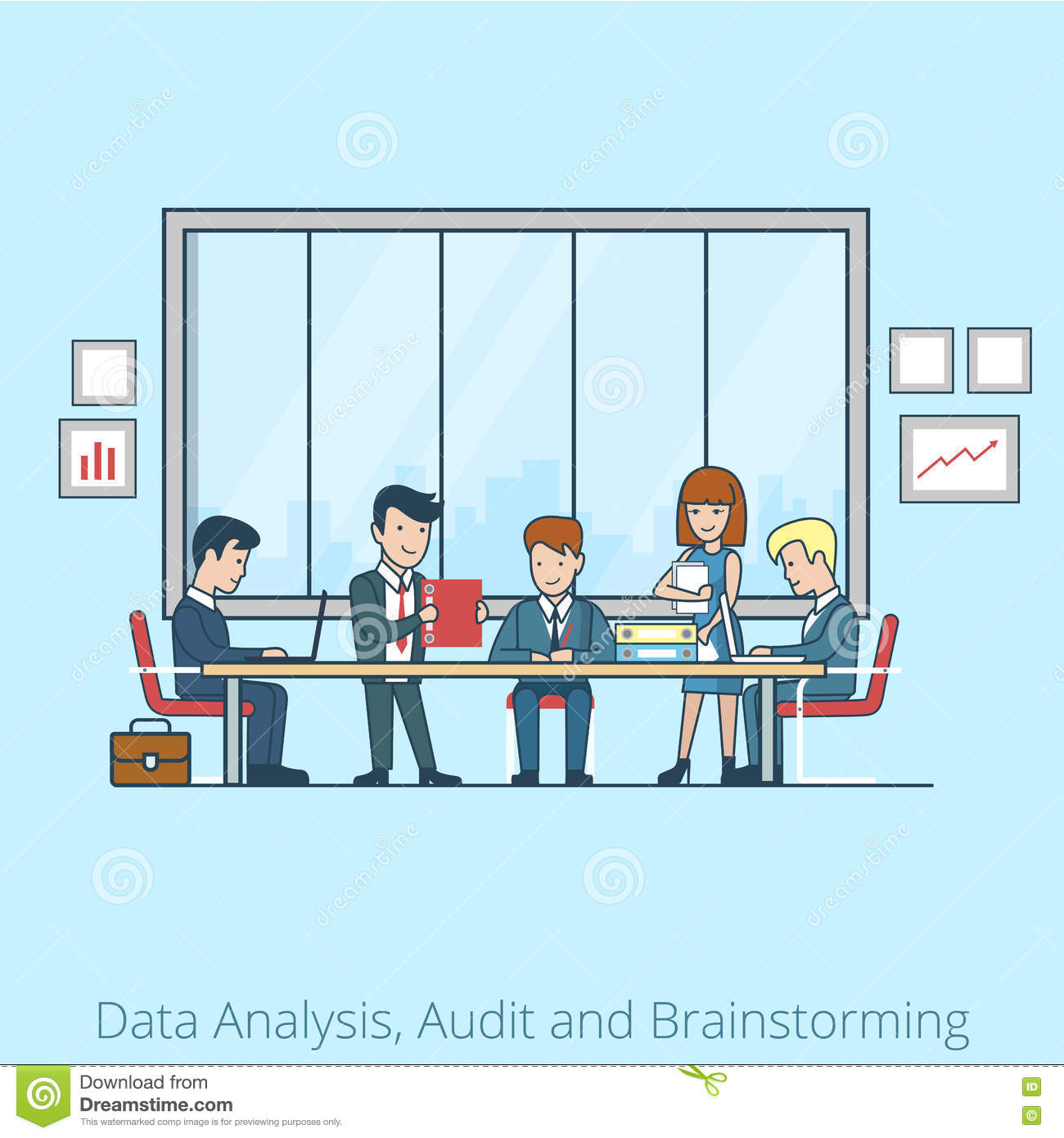 Analysis Audit brainstorming Business people Linea