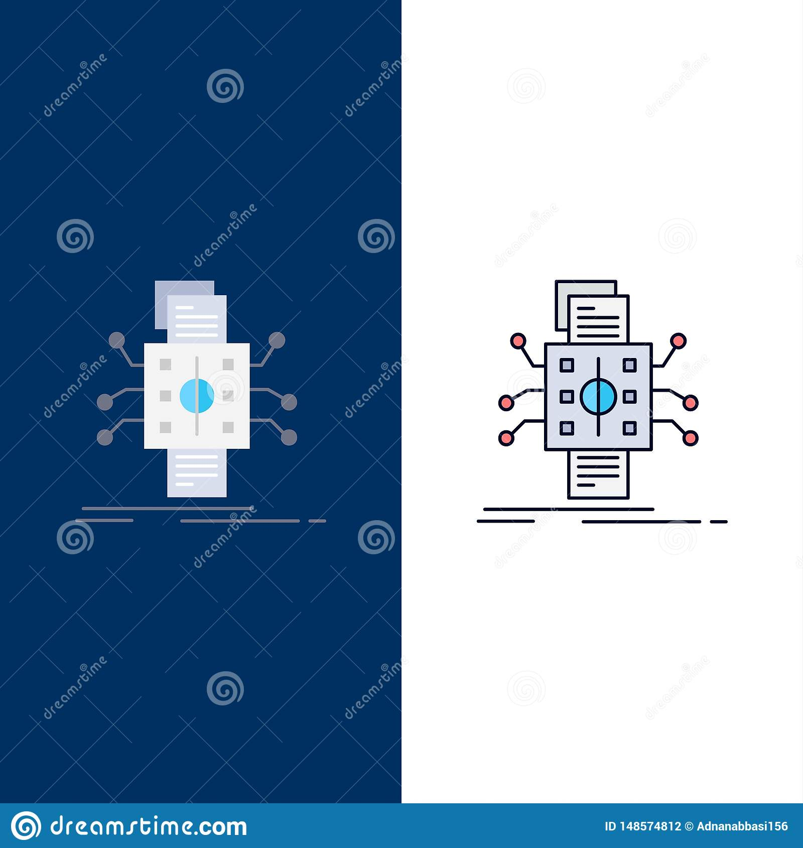 Analysis, data, datum, processing, reporting Flat Color Icon Vector