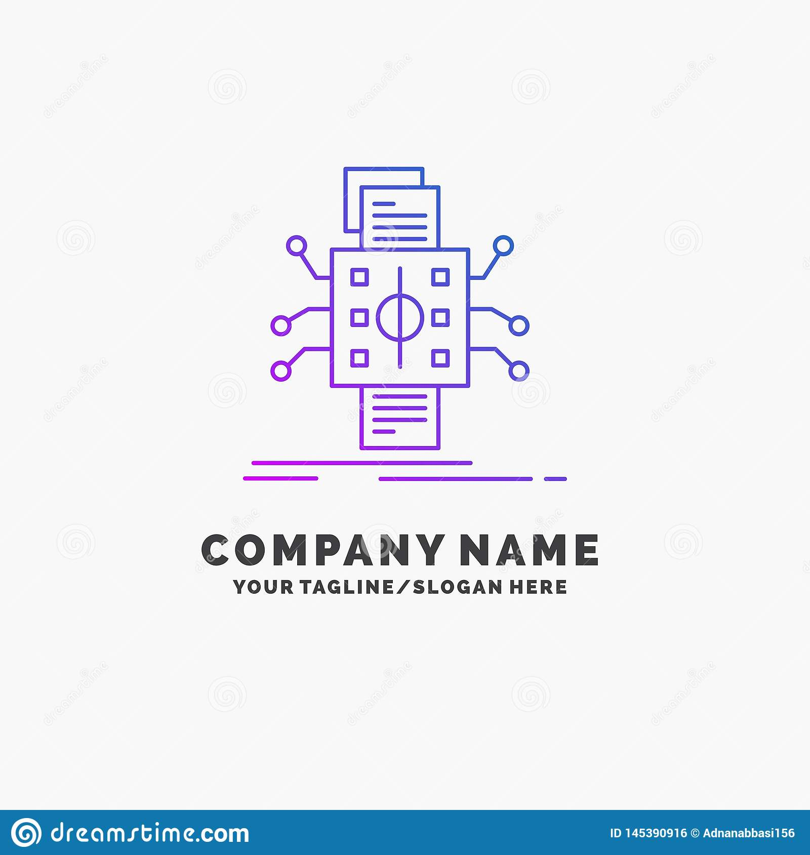 Analysis, data, datum, processing, reporting Purple Business Logo Template. Place for Tagline