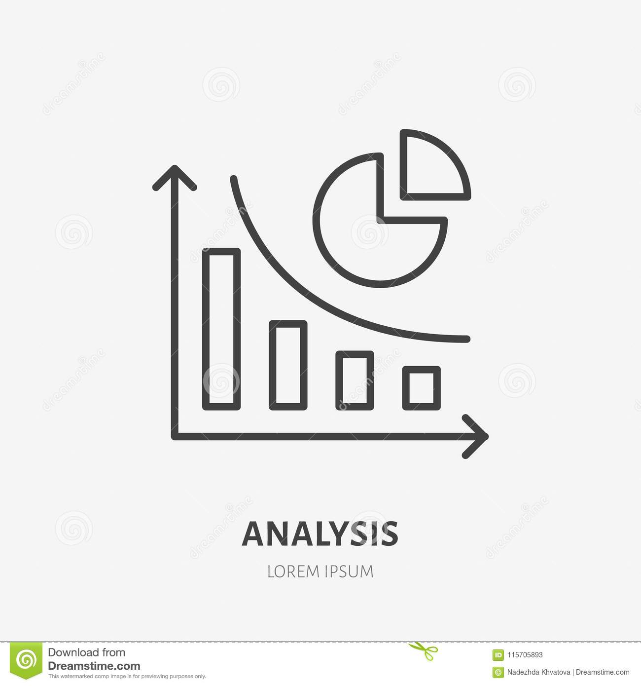 Finance Sign: Analysis, Finance Infographic Flat Line Icon. Accounting