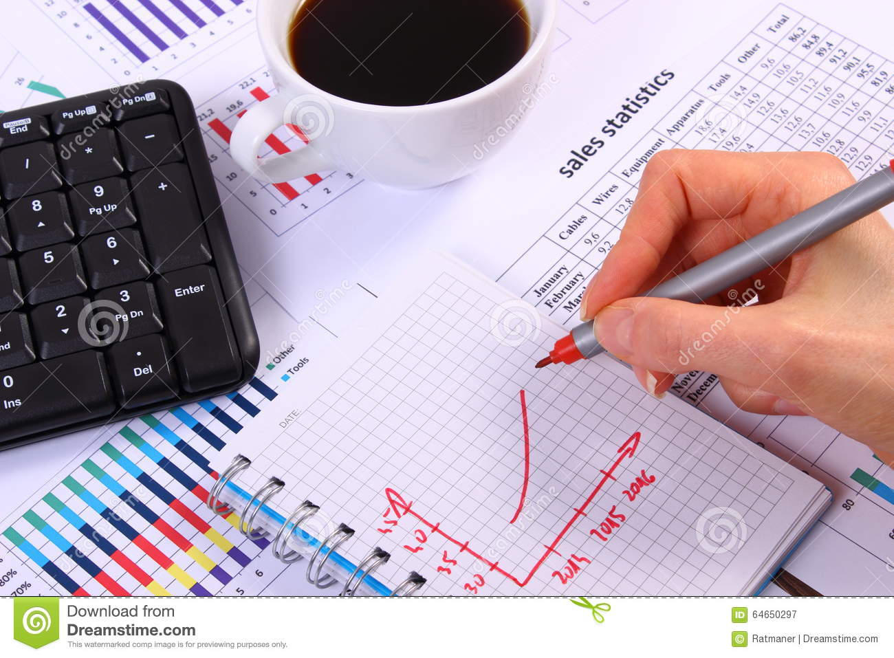 Analysis Of Sales Plan Computer Keyboard And Cup Coffee Wiring Diagram Business Concept