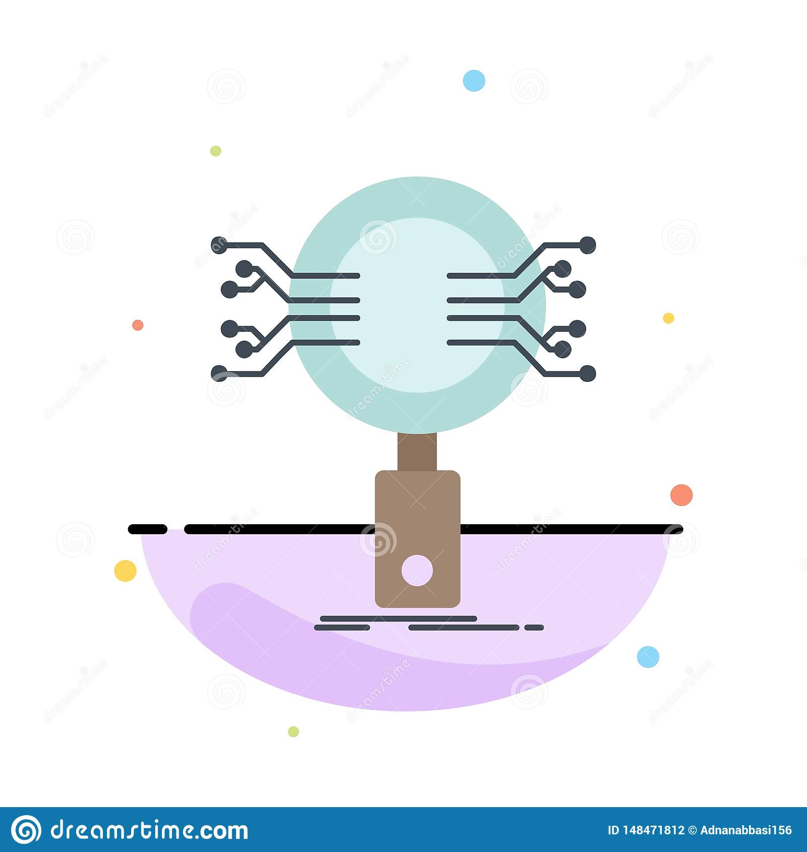 Analysis, Search, information, research, Security Flat Color Icon Vector