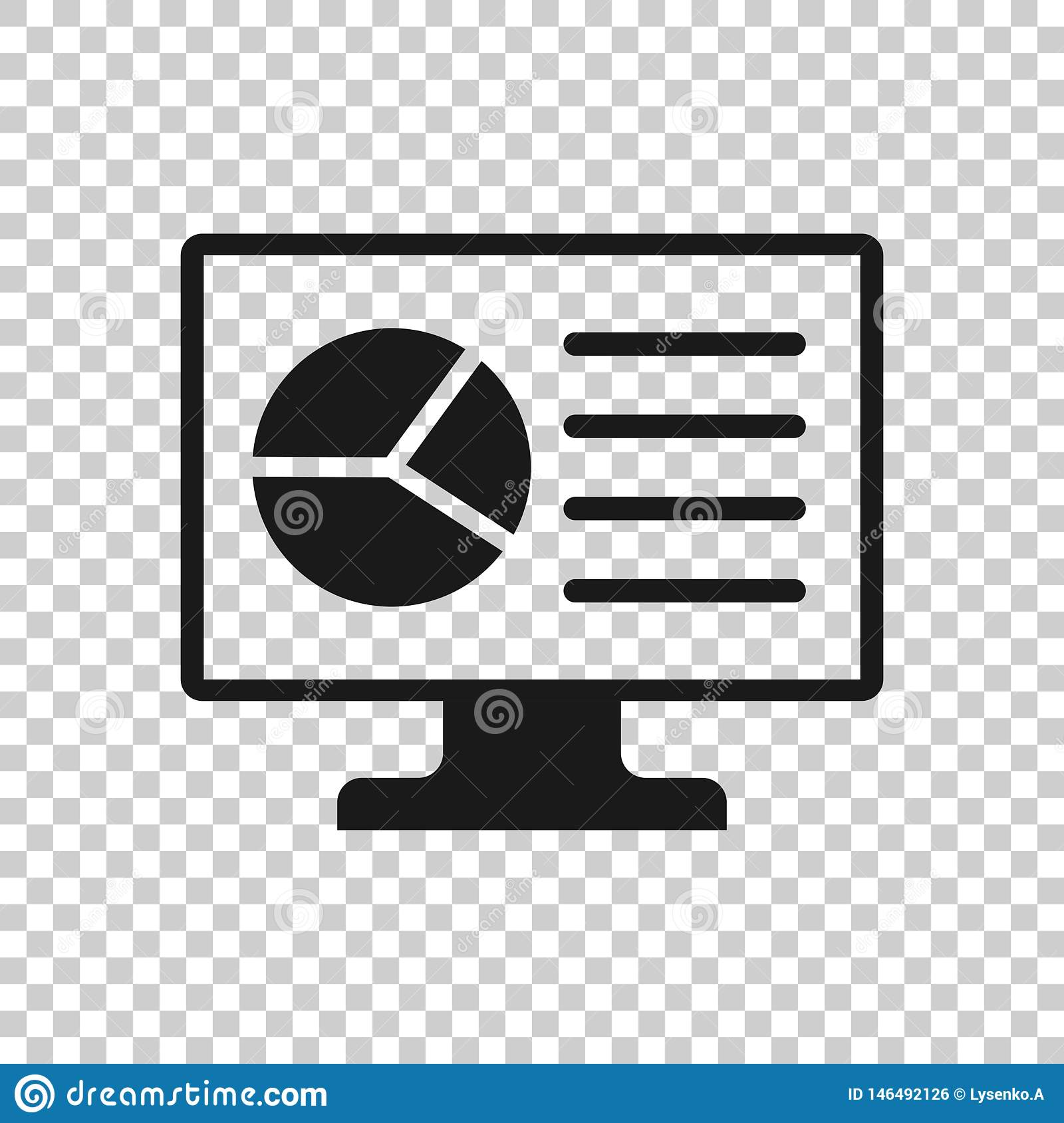 Analytic Monitor Icon In Transparent Style Diagram Vector