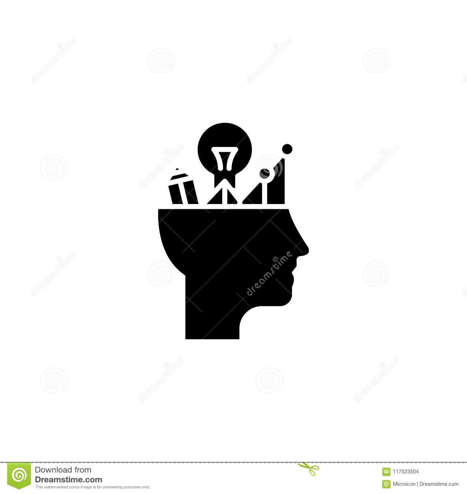 Analytical Thinking Black Icon Concept Analytical Thinking Flat