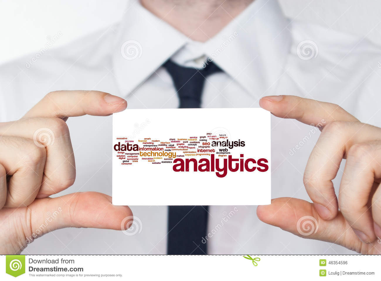 Analytics. Businessman in white shirt with a black tie showing o