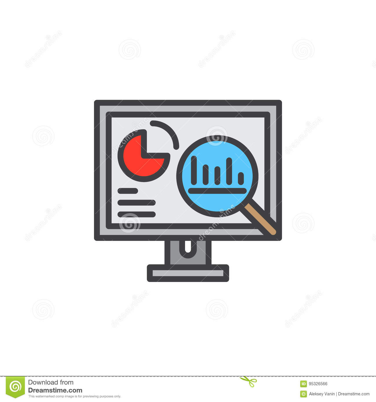 Analytics, Desktop pc with graphs line icon, filled outline vector sign, linear colorful pictogram isolated on white.