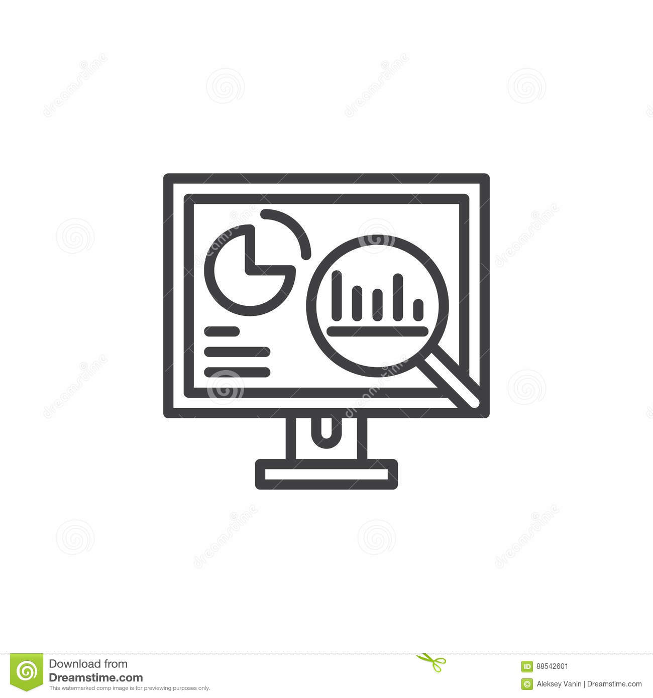 Analytics, Desktop pc with graphs line icon, outline vector sign, linear pictogram isolated on white.