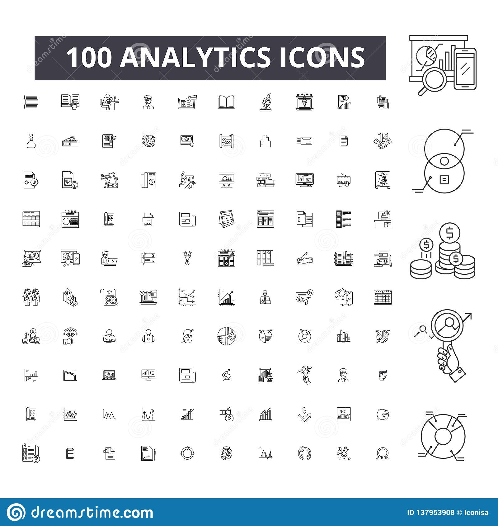 Analytics editable line icons, 100 vector set, collection. Analytics black outline illustrations, signs, symbols