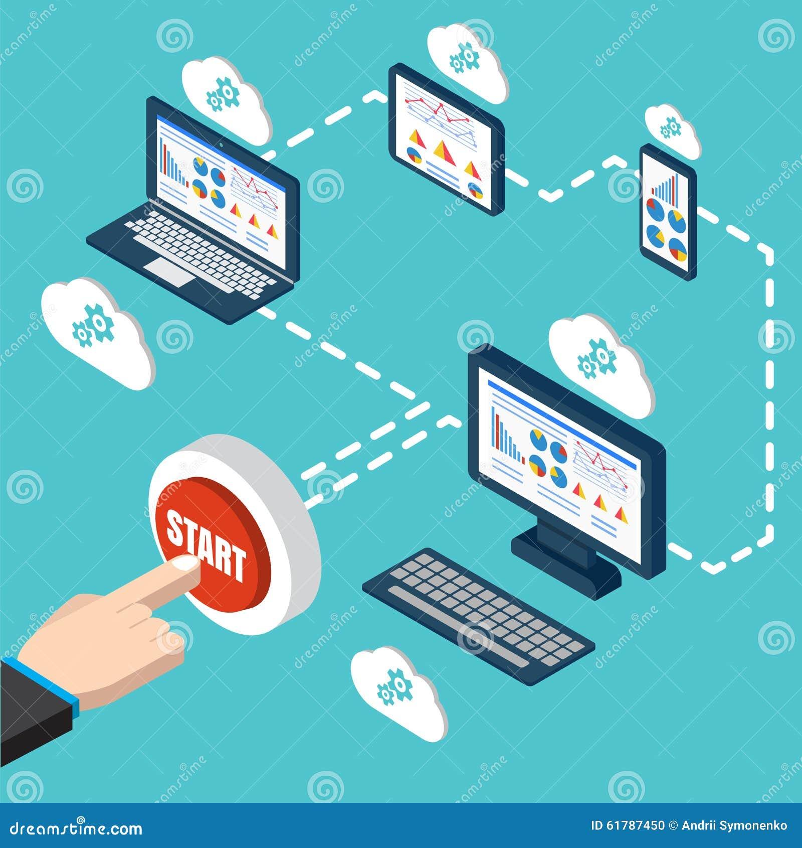 Analytics en programmeringsvector De optimalisering van de Webtoepassing