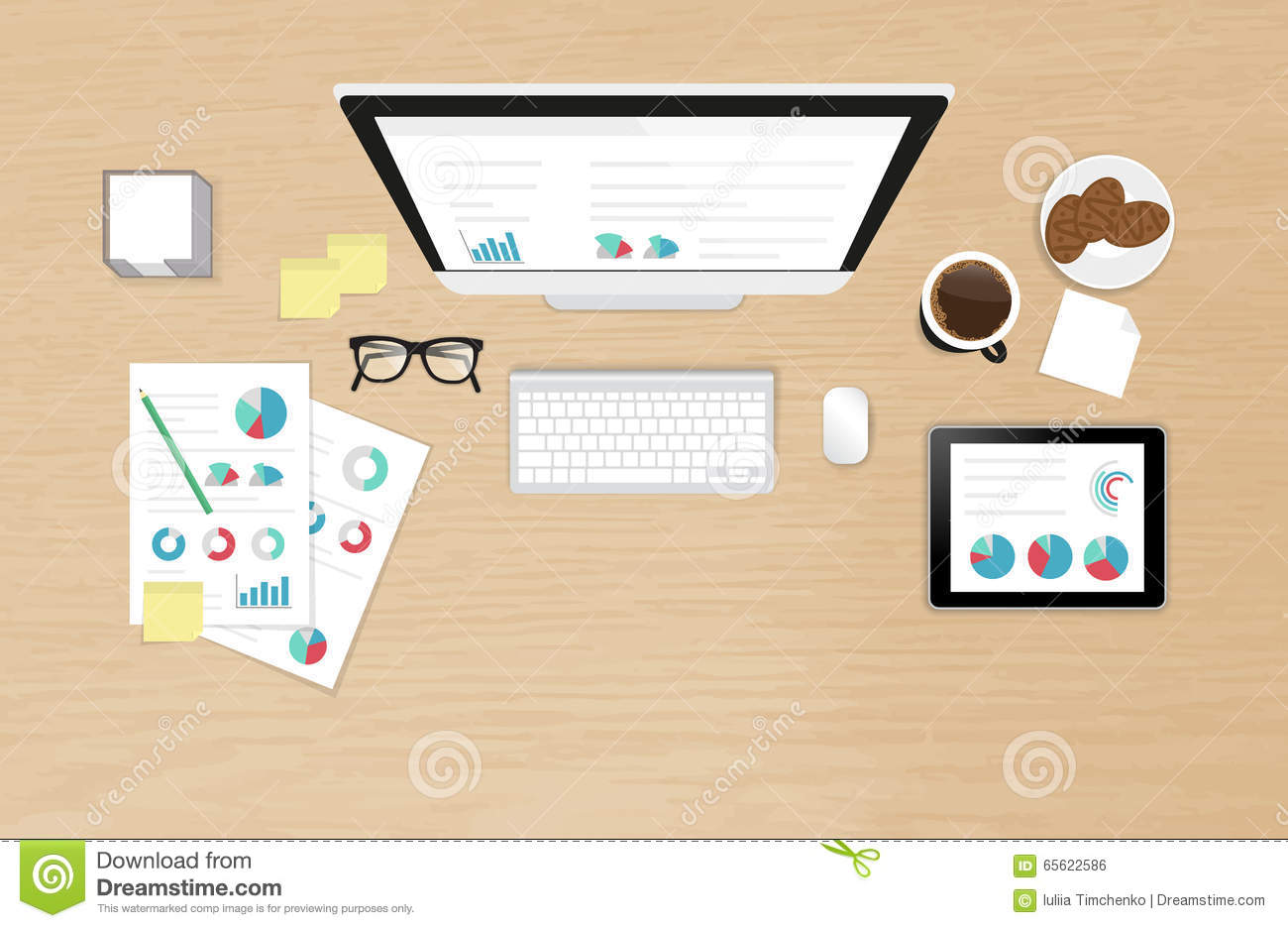 Analytics Process On The Work Desk Top View Stock Vector Illustration Of Forecasting