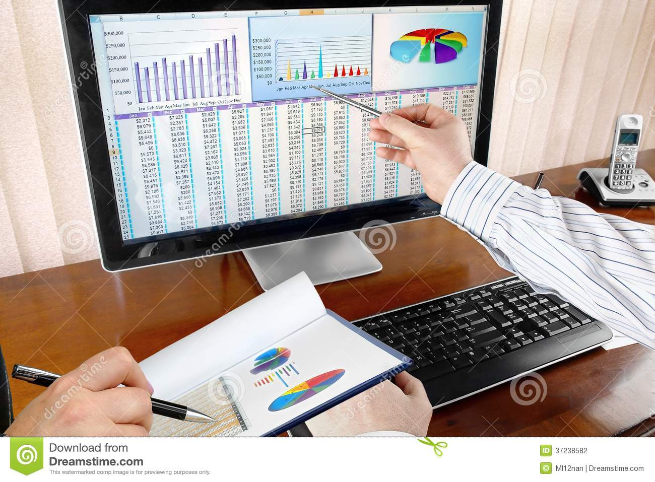 Analyzing Data on Computer stock photo. Image of monitor ...