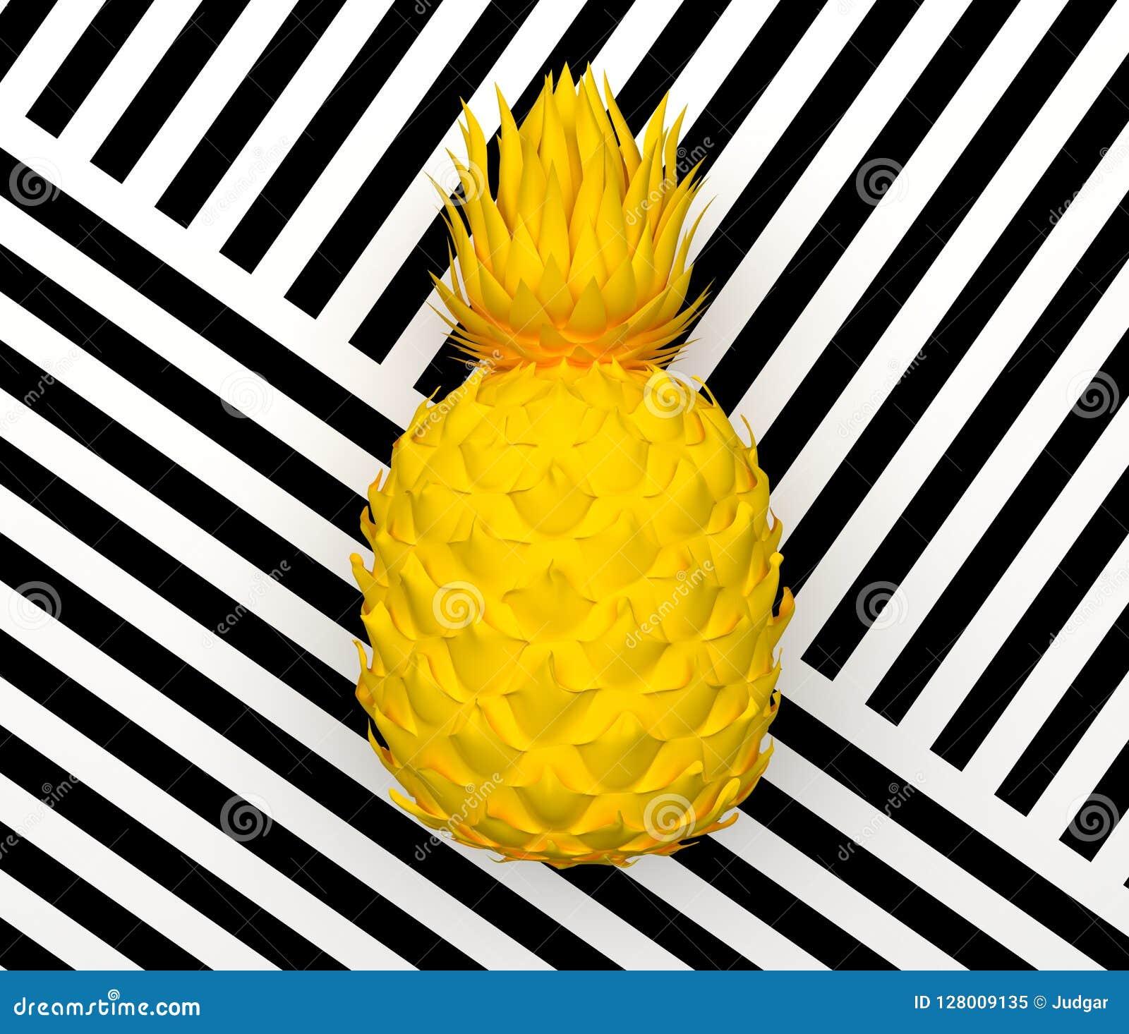 Ananas astratto giallo solo isolato su un fondo con una banda in bianco e nero Frutta esotica tropicale rappresentazione 3d