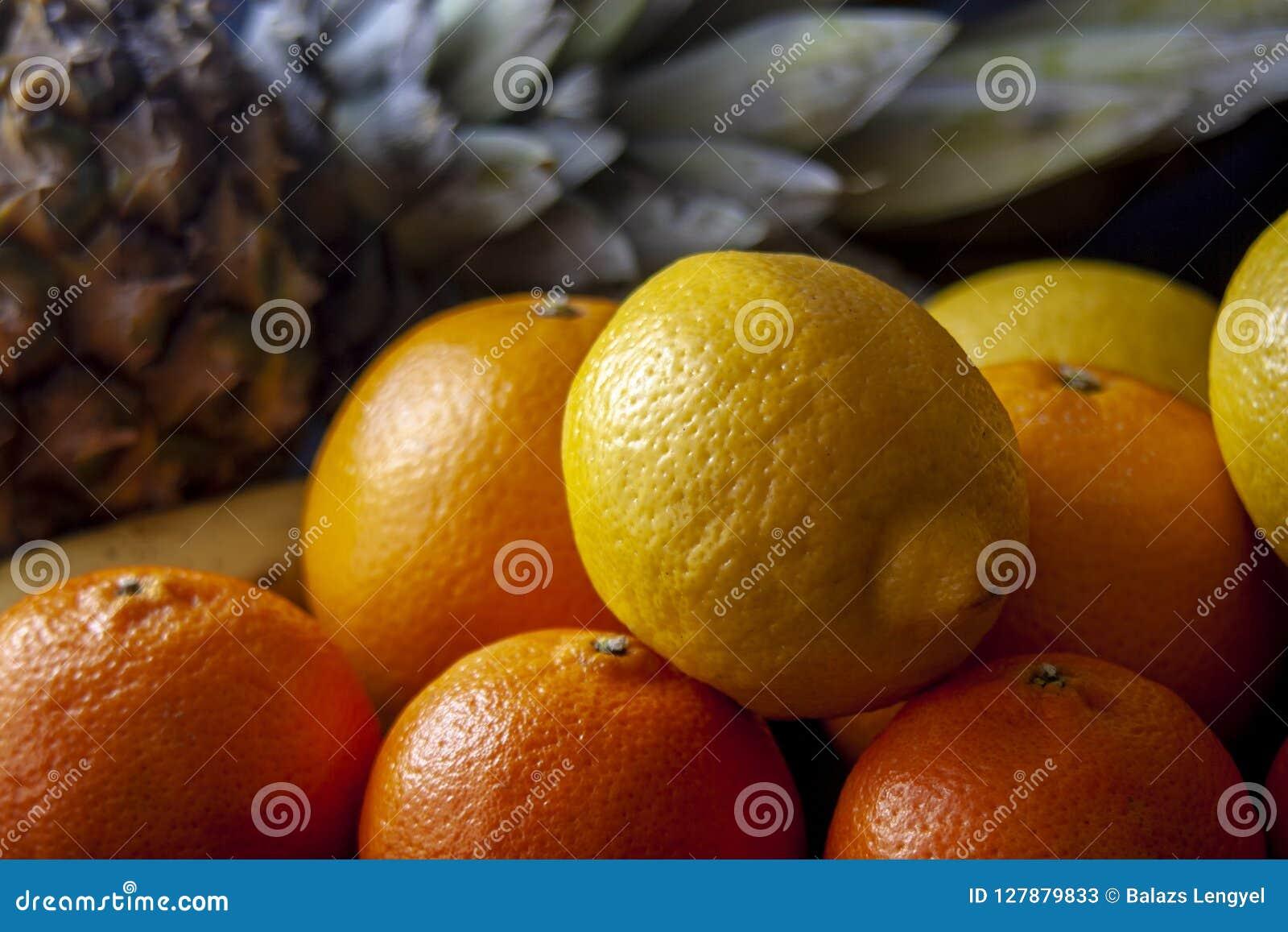 Ananas avec le mélange des fruits tropicaux, y compris des oranges, citrons