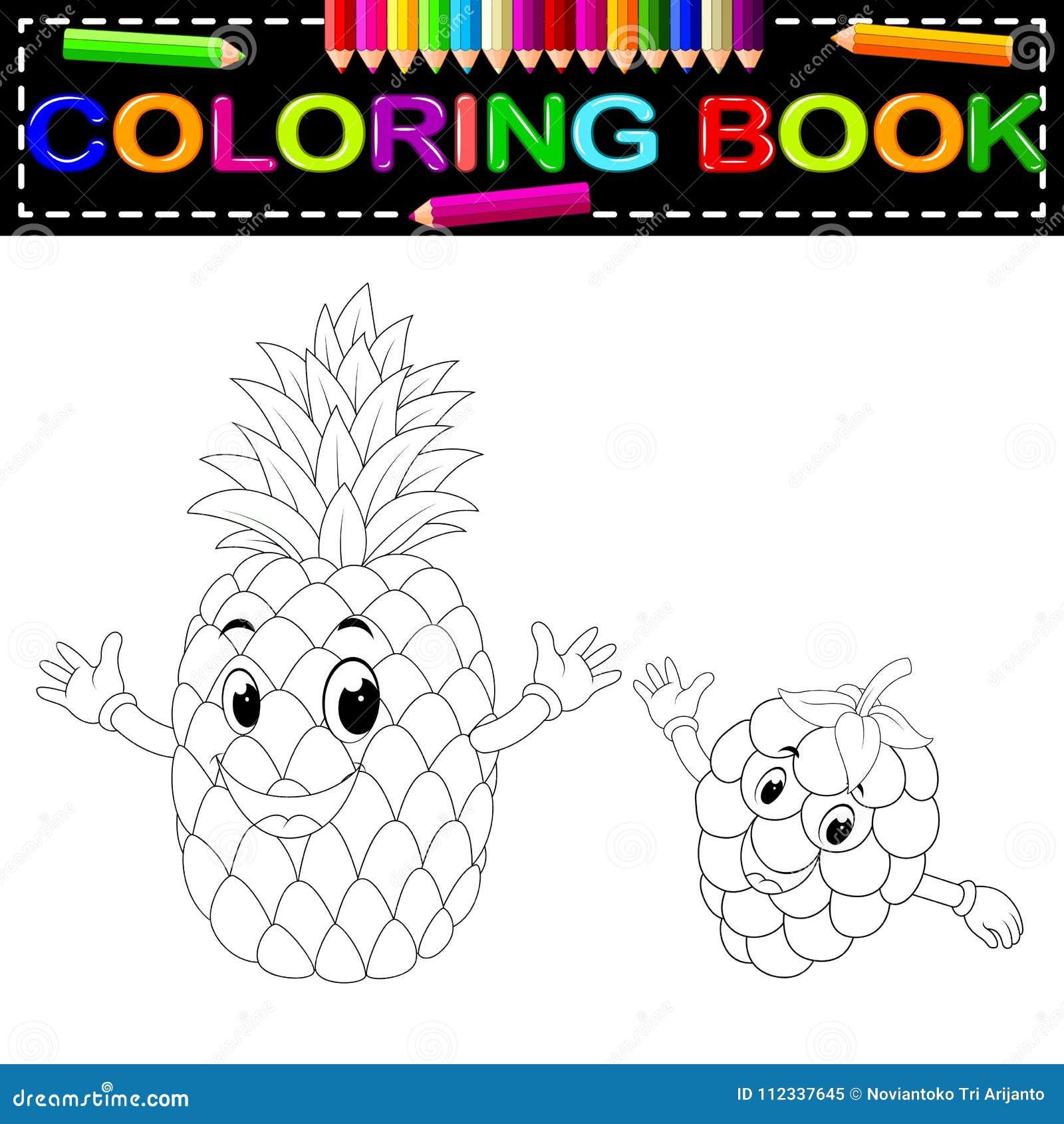 Ananas E Lampone Con Il Libro Da Colorare Del Fronte Illustrazione