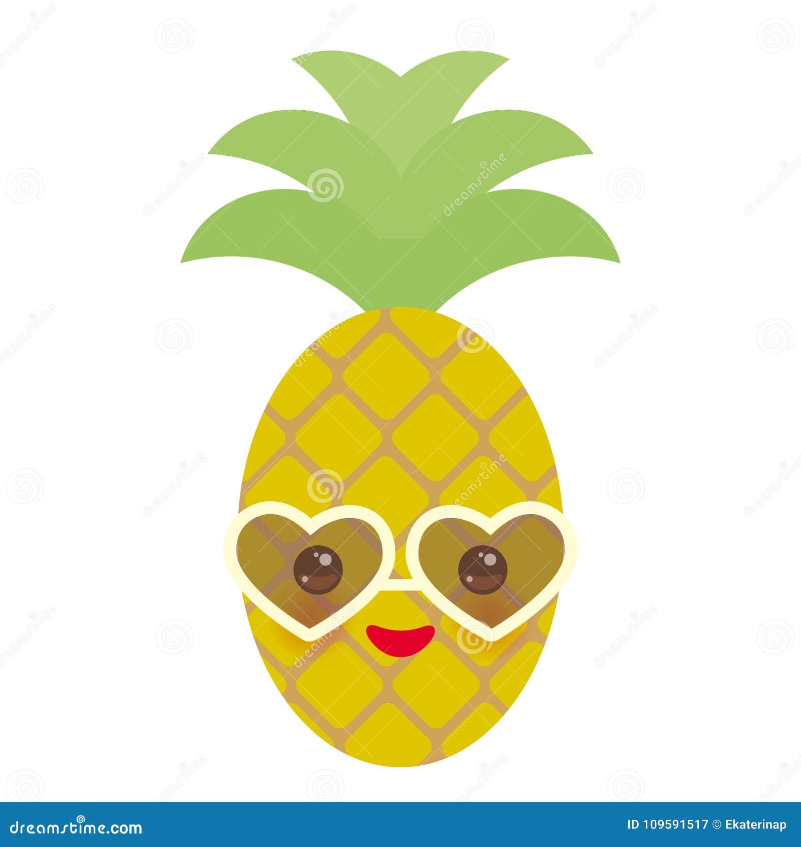 Ananas Esotico Della Frutta Di Kawaii Divertente Sveglio Con Gli