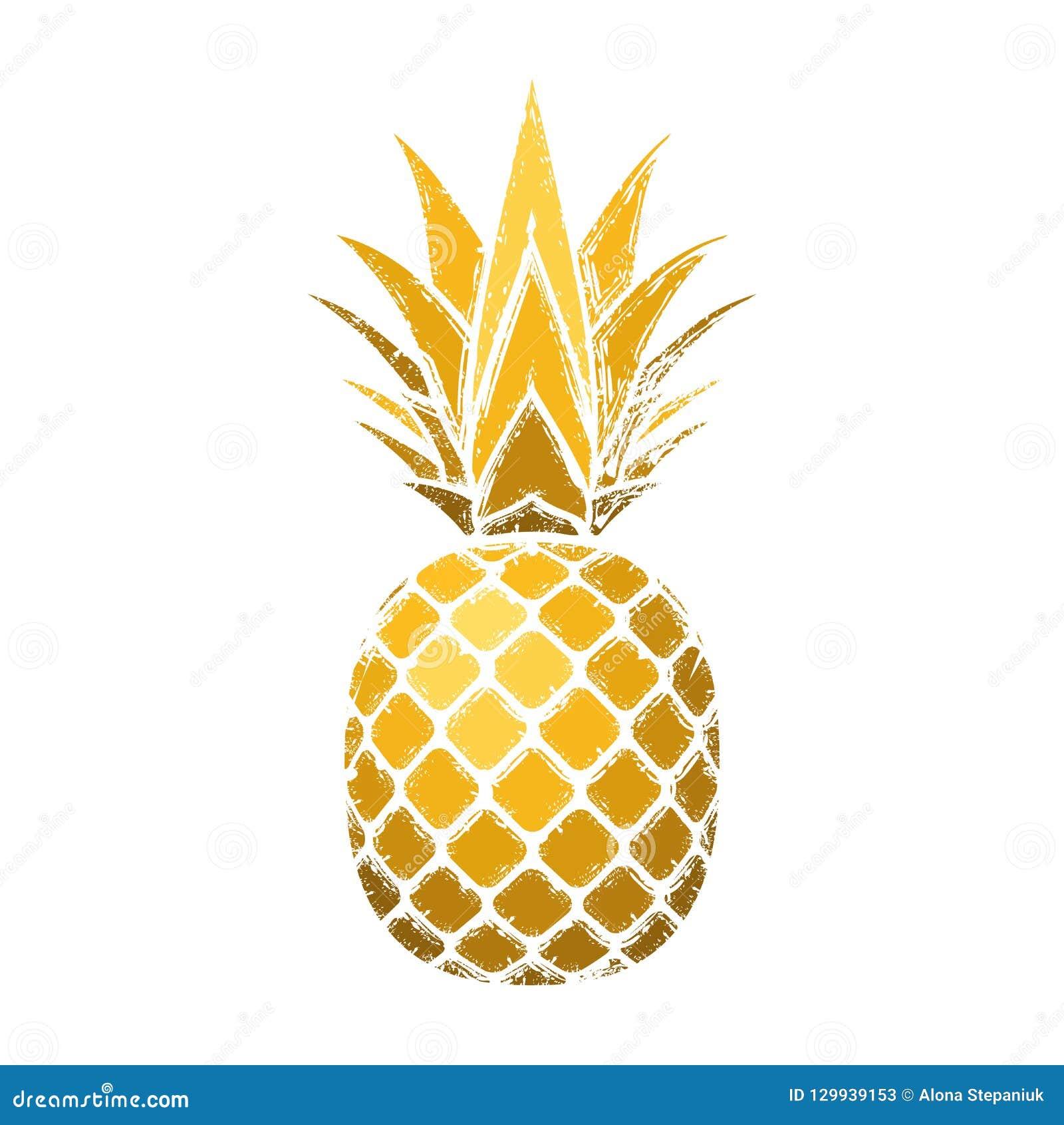 Ananasowy grunge z liściem Tropikalnej złocistej egzotycznej owoc odosobniony biały tło Symbol żywność organiczna, lato