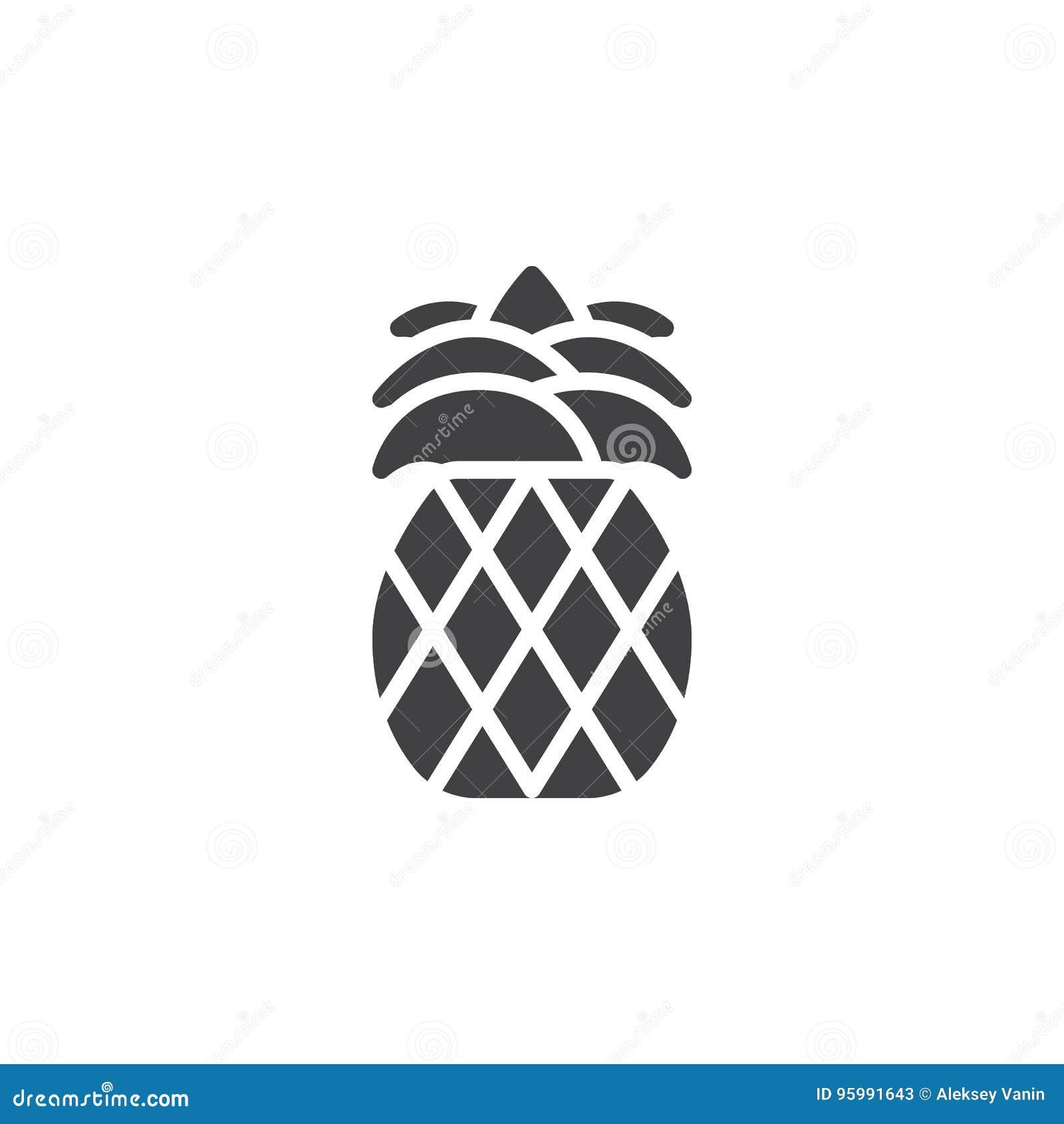 Ananassymbolsvektor, fyllt plant tecken, fast pictogram som isoleras på vit