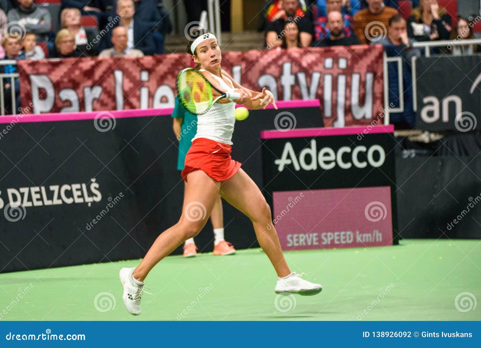 Anastasija Sevastova, во время игры группы II мира первой круглой между командой Латвией и командой Словакией