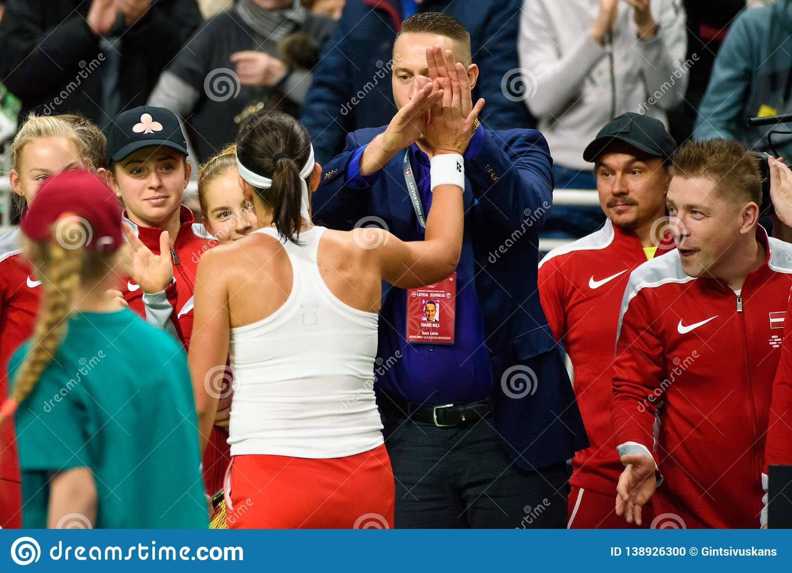 Anastasija Sevastova, tijdens Wereldgroep II Eerste Rond spel tussen team Letland en team Slowakije