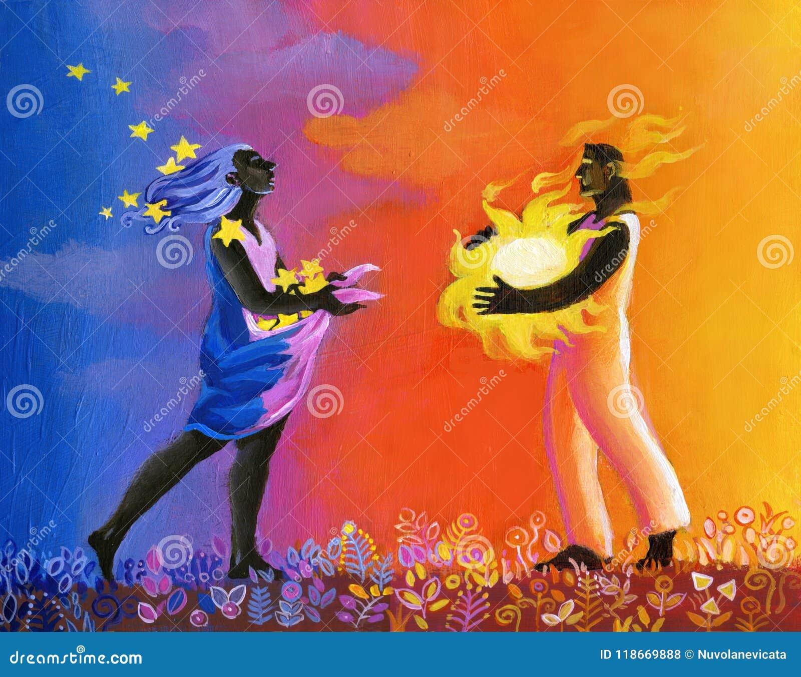 Ancestral love surreal dreamin illustration