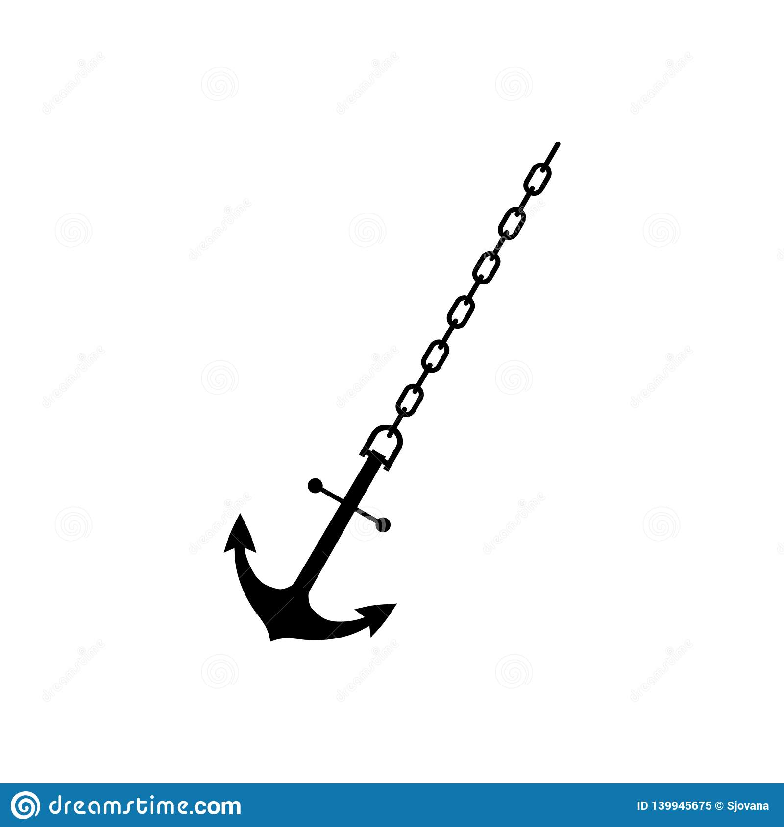 Anchor Chain, Ship Anchor Or Boat Anchor Flat Icon Stock Vector ...