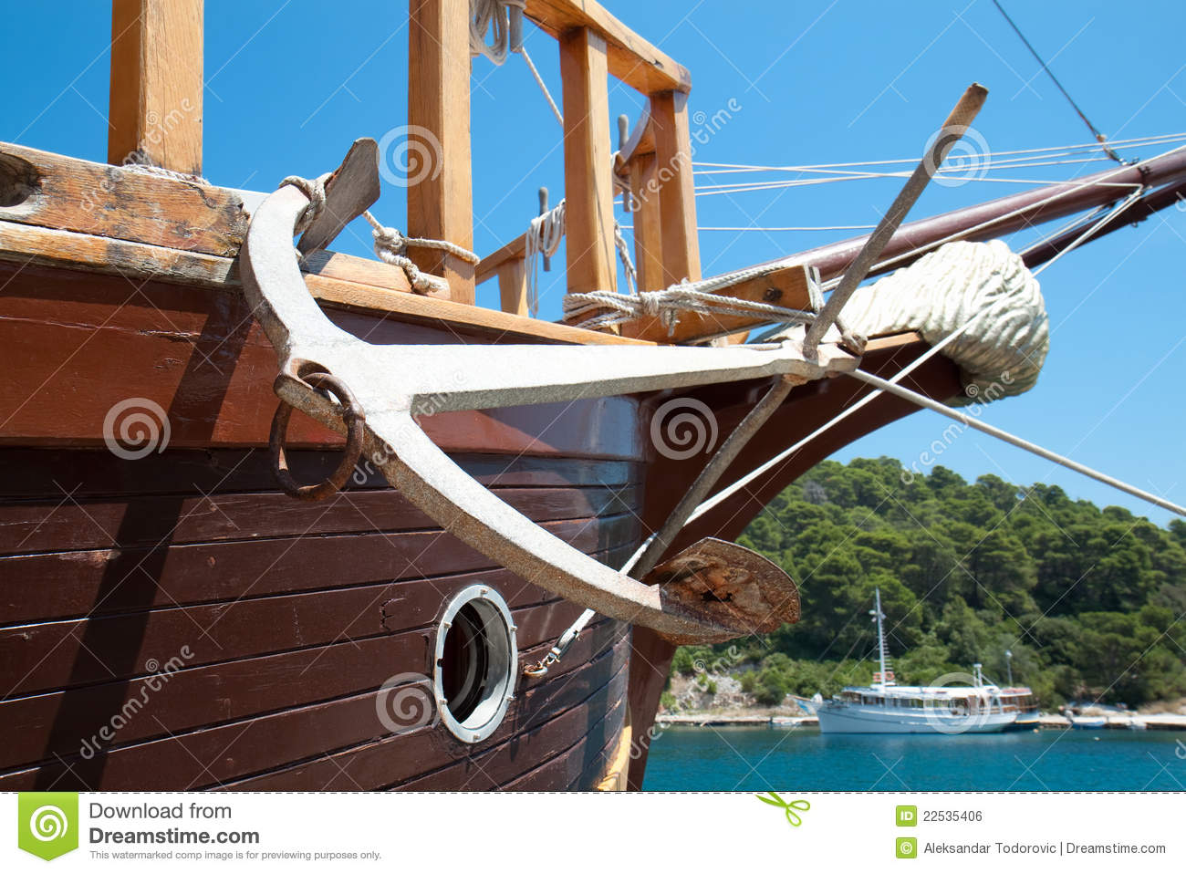 Anchor Detail Of The Old Sailing Boat Royalty Free Stock
