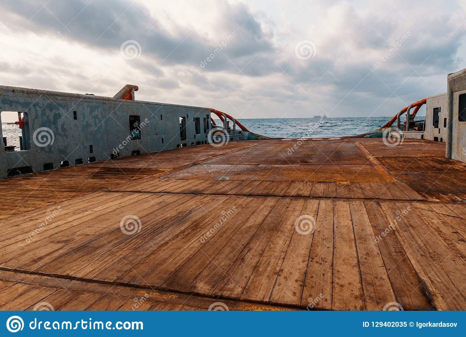 Anchor handling Tug Supply AHTS vessel deck. Anchor-handling Tug Supply AHTS vessel deck. Ocean tug job royalty free stock photo