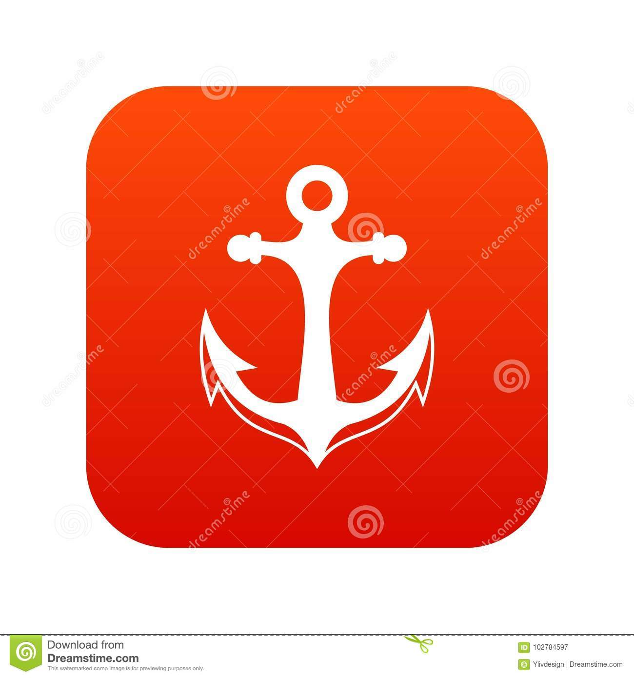 Download Anchor Icon Digital Red Stock Vector Illustration Of Iron