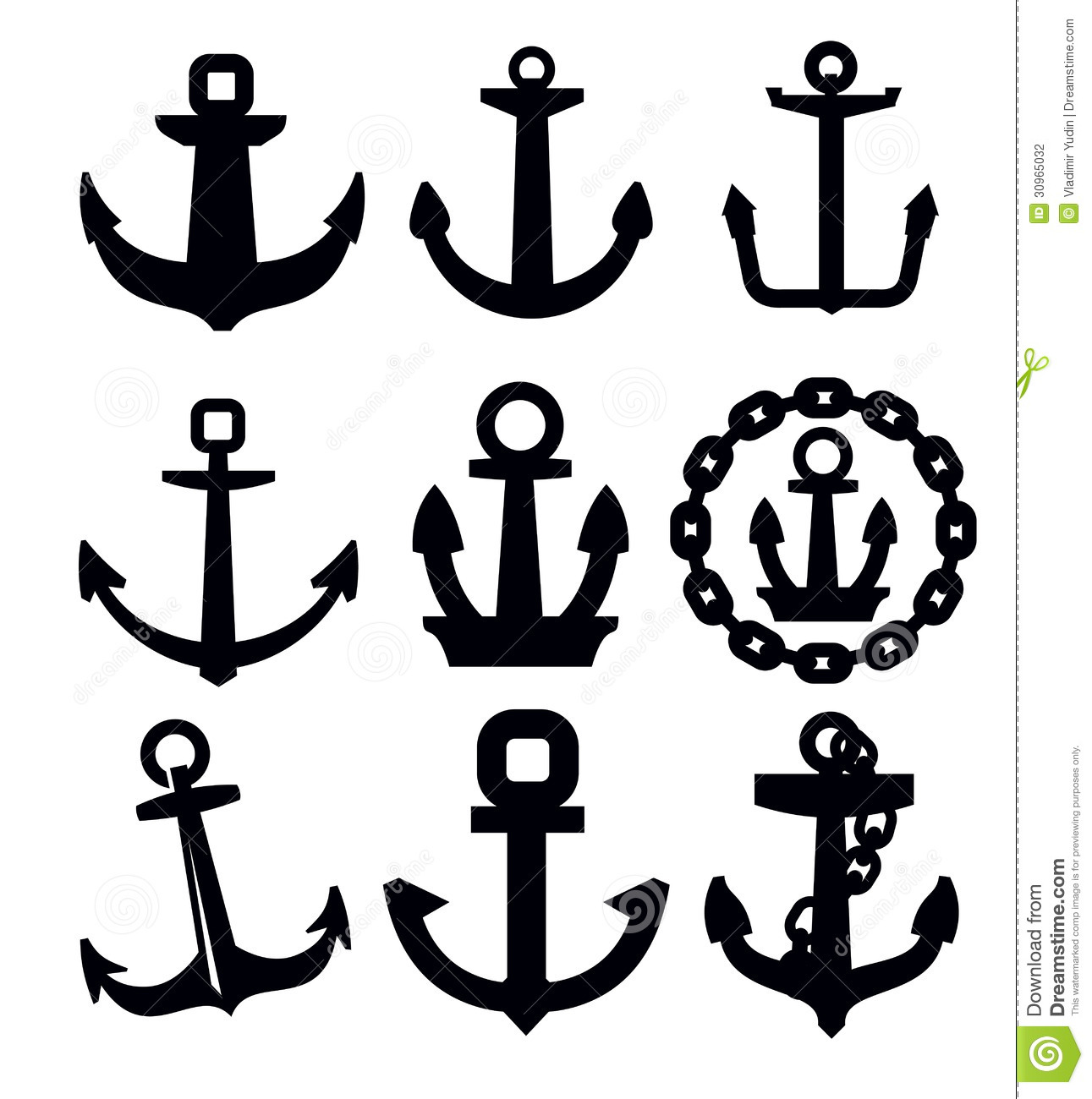 anchor icon set stock vector illustration of chain  water anchor with rope clipart Anchor with Rope Clip Art Black and White