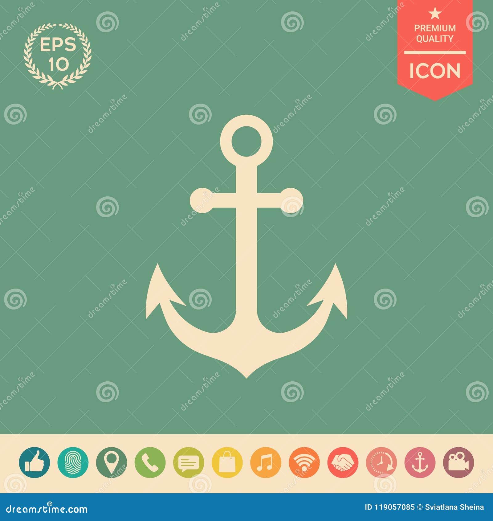 Anchor Icon Symbol Stock Vector Illustration Of Sharp 119057085